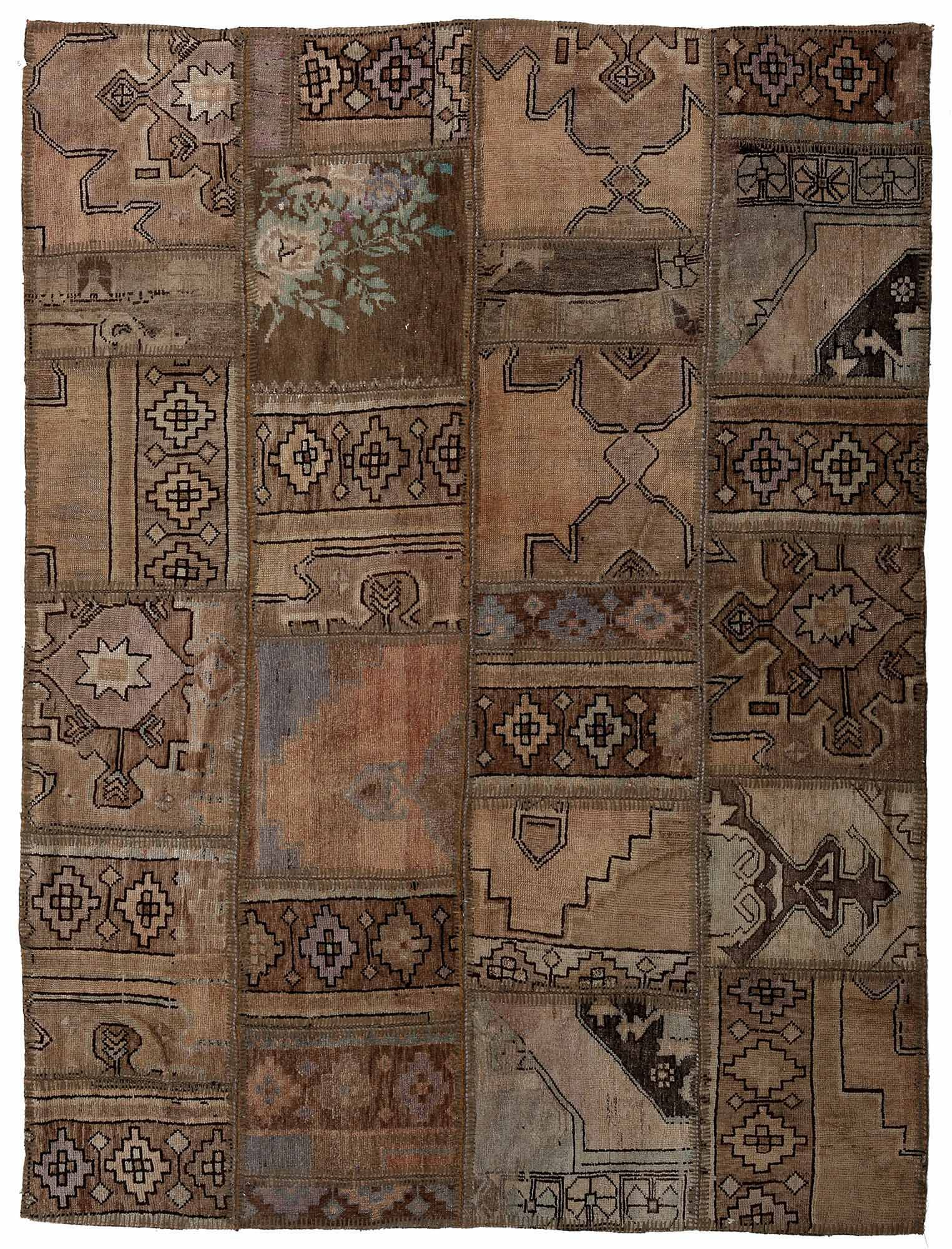 One-of-a-Kind Correia Patchwork Hand-Knotted Wool Brown/Beige Area Rug