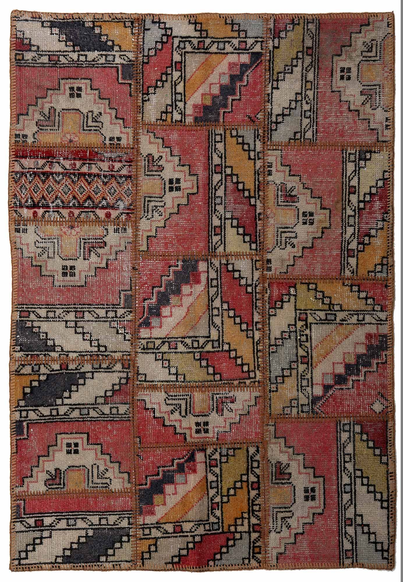 One-of-a-Kind Correia Patchwork Hand-Knotted Wool Red/Yellow/Gray Area Rug
