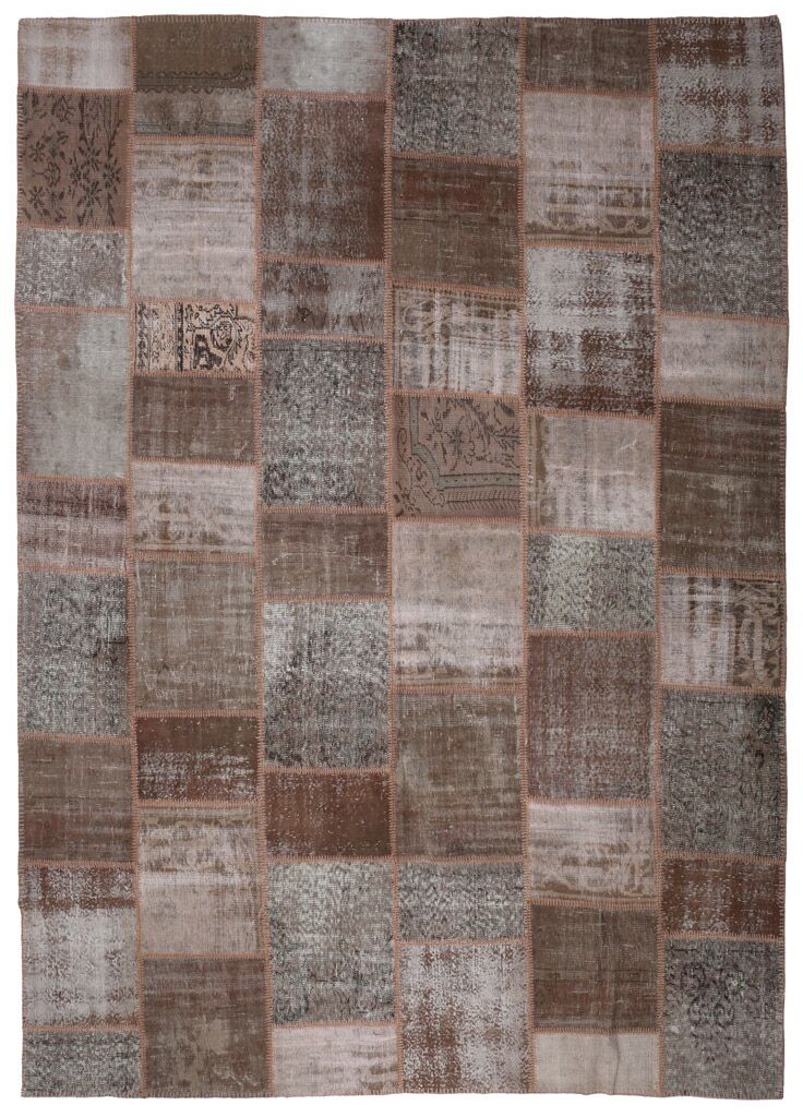 One-of-a-Kind Corrie Overdyed Patchwork Hand-Knotted Wool Brown/Gray Area Rug