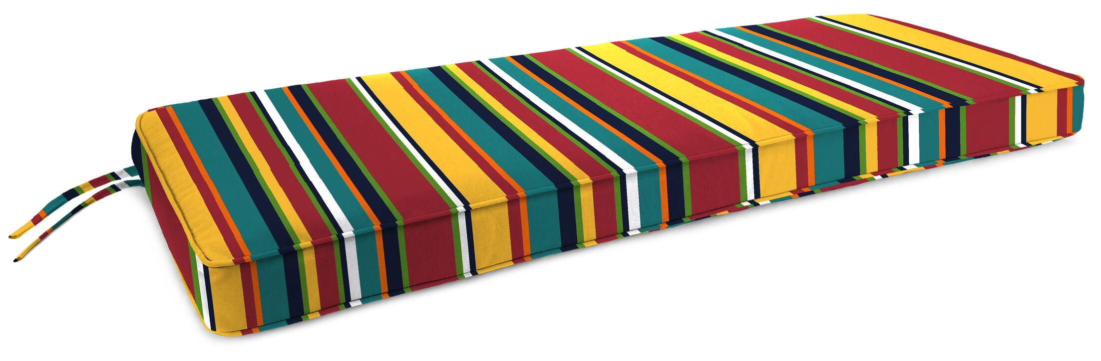Boxed Indoor/Outdoor Bench Cushion Fabric: Red/White