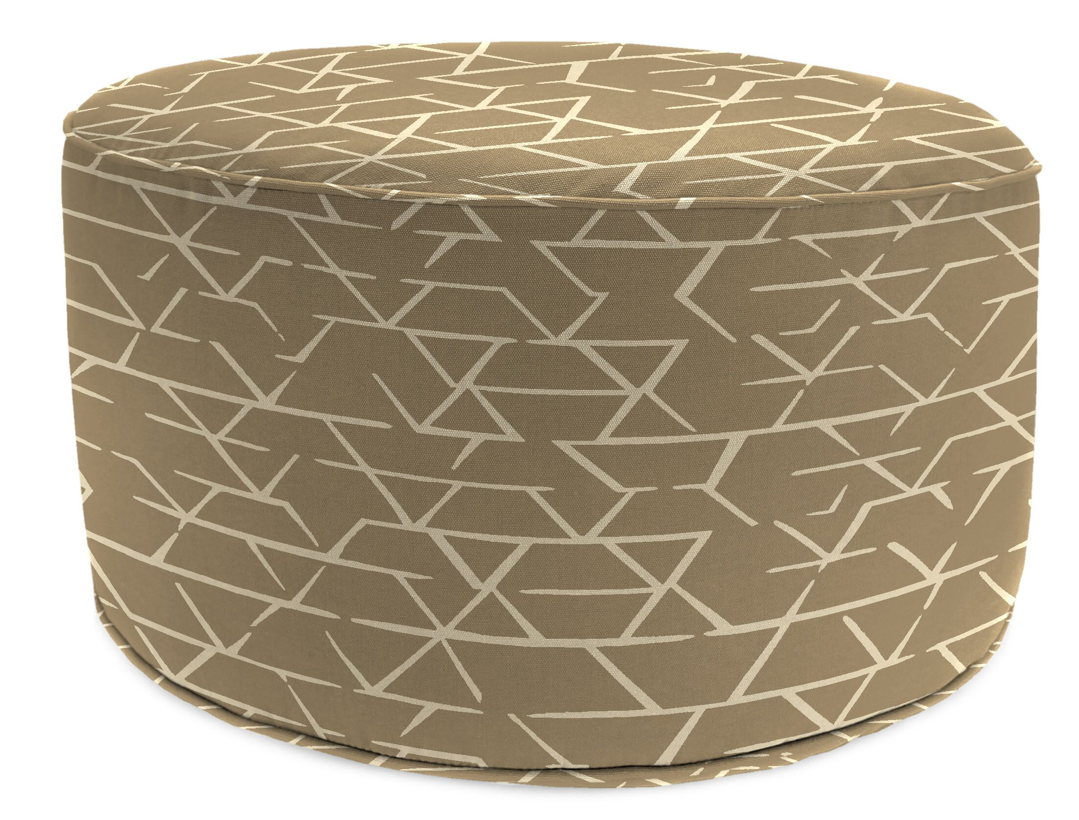 Wills Bead Fill Pouf Ottoman with Cushion Fabric: Browns/White