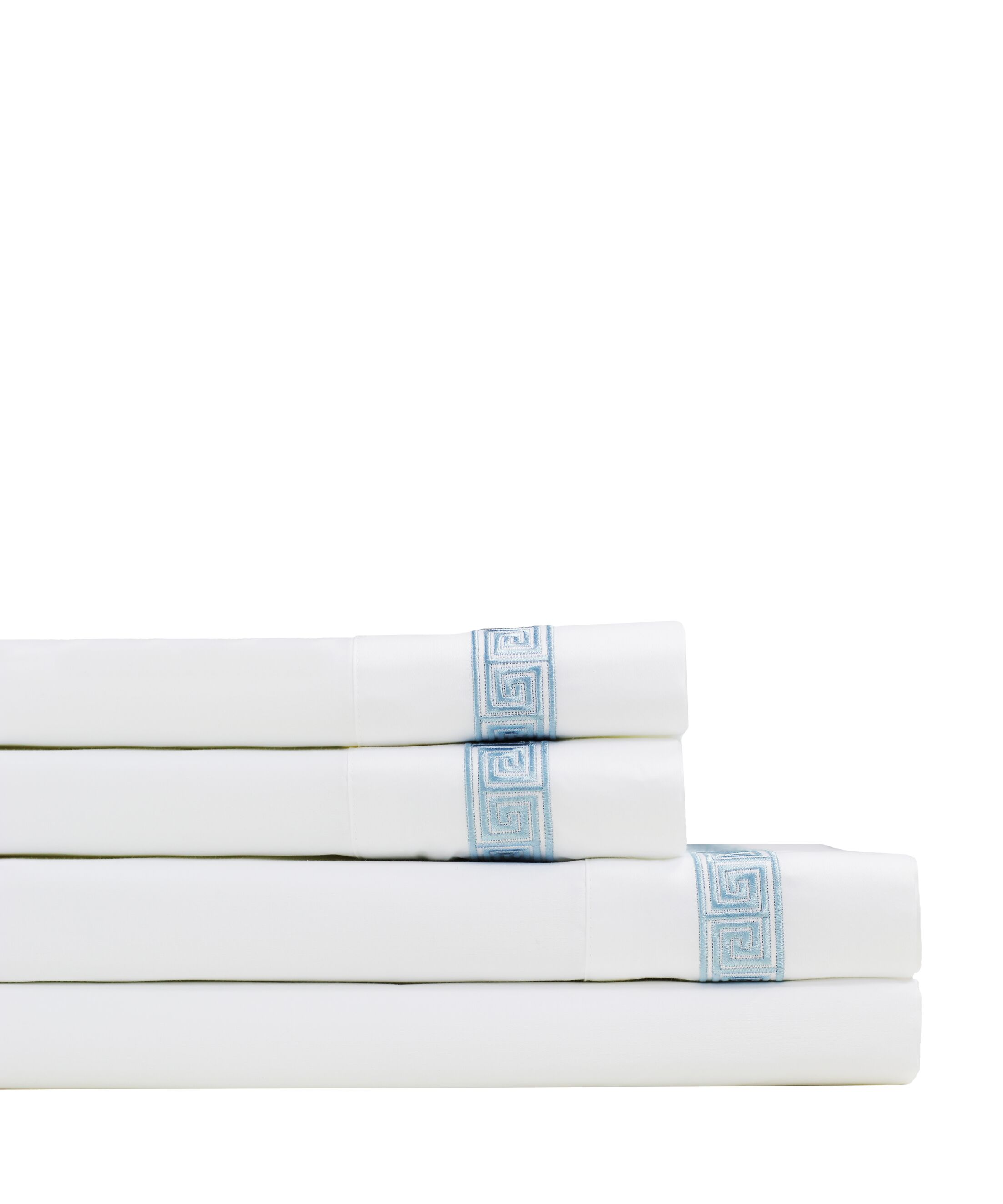Kolton Embroidered 600 Thread Count Sheet Set Size: King, Color: Blue