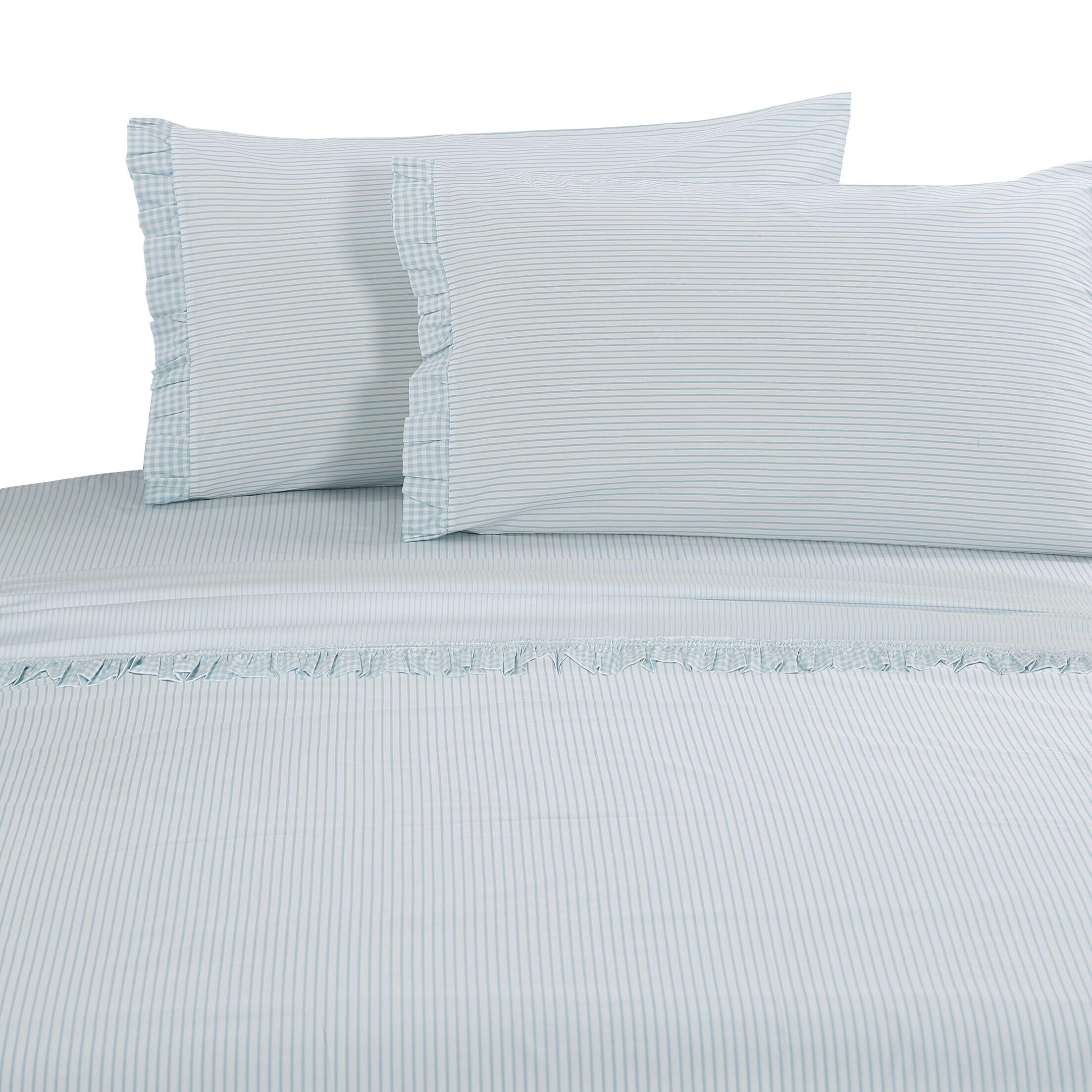 Faircloth Gingham Ruffle 300 Thread Count 100% Cotton Sheet Set Size: Queen, Color: Aqua