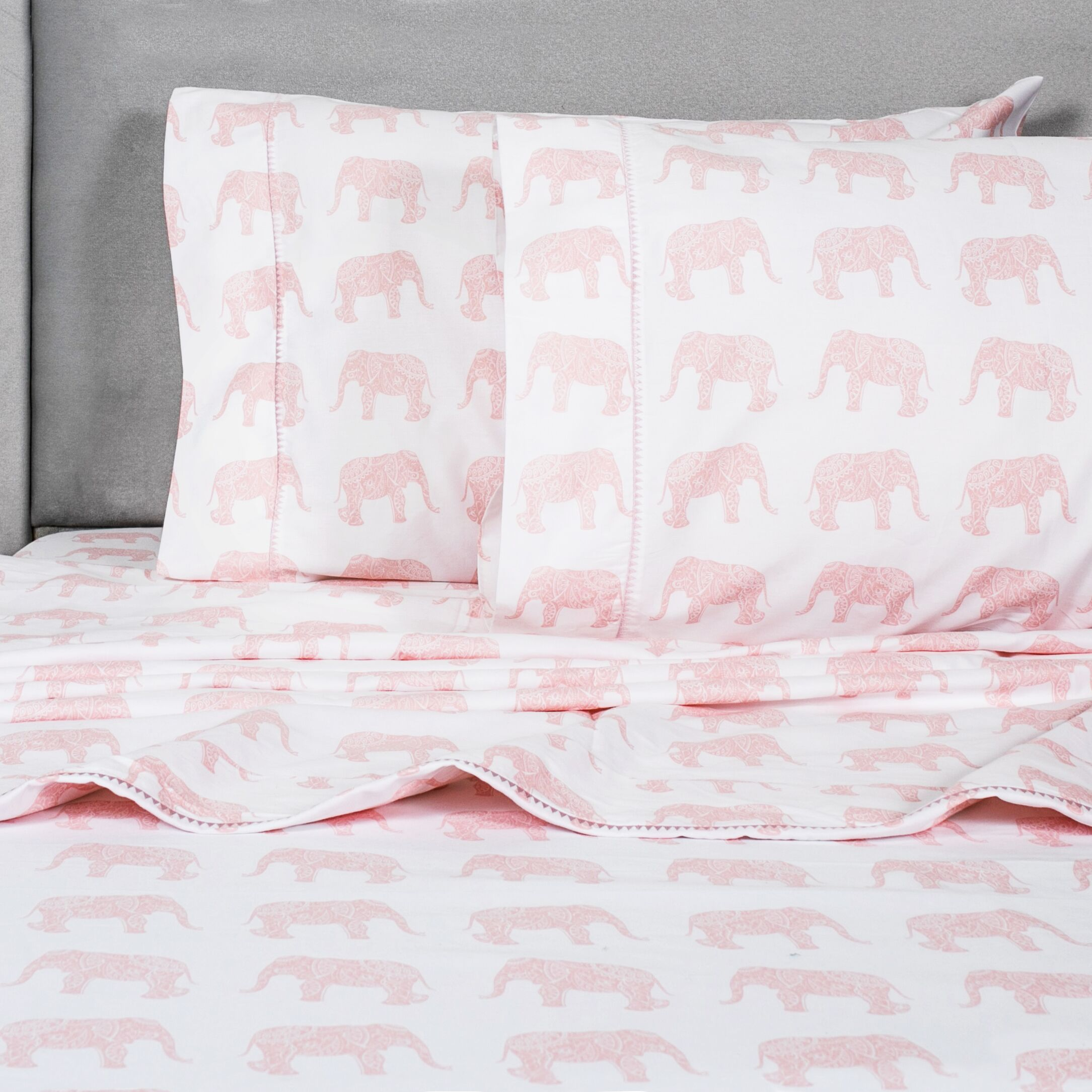 Elephant 400 Thread Count 100% Cotton Sheet Set Size: Queen, Color: Pink