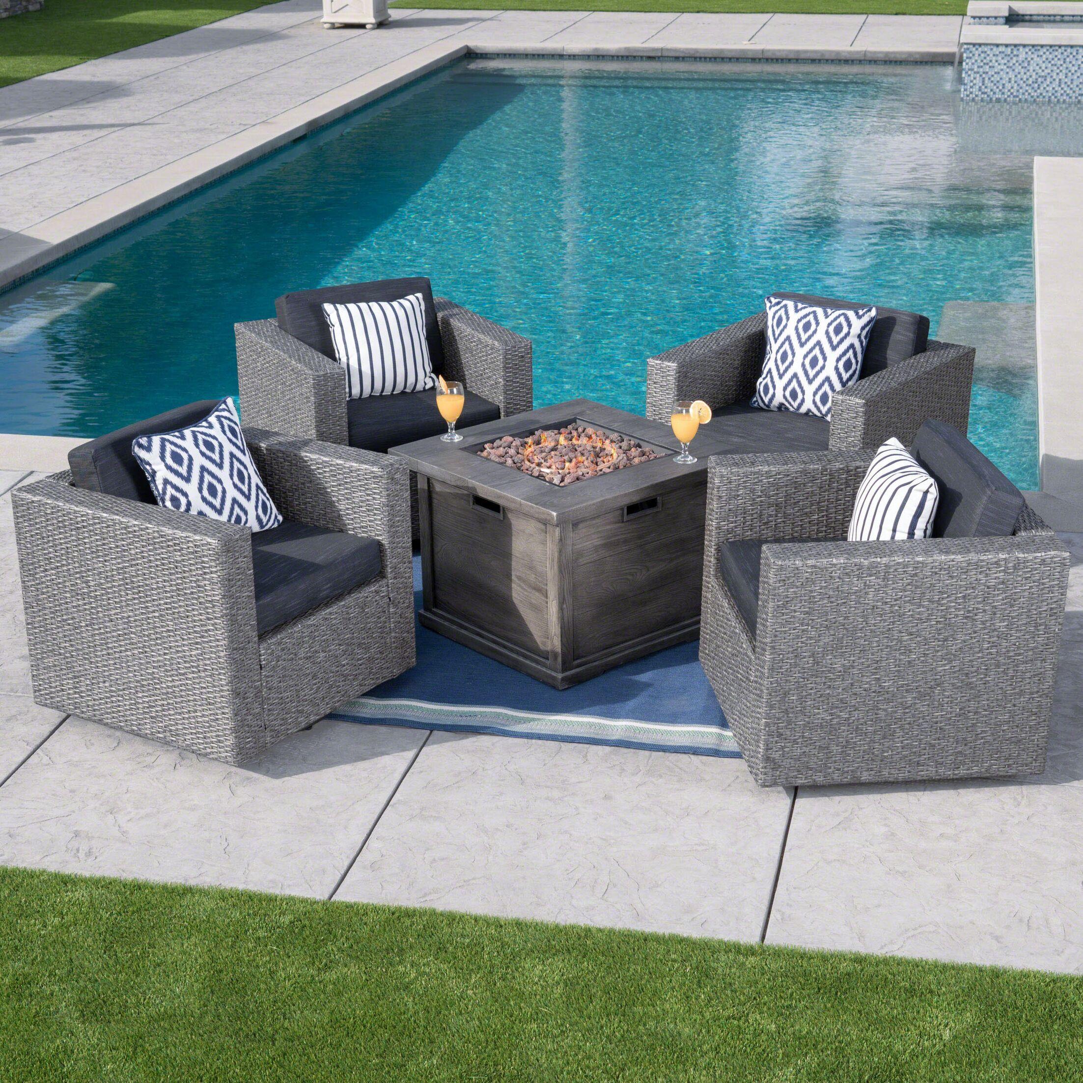 Cirillo 5 Piece Conversation Set with Cushions Cushion Color: Mixed Black
