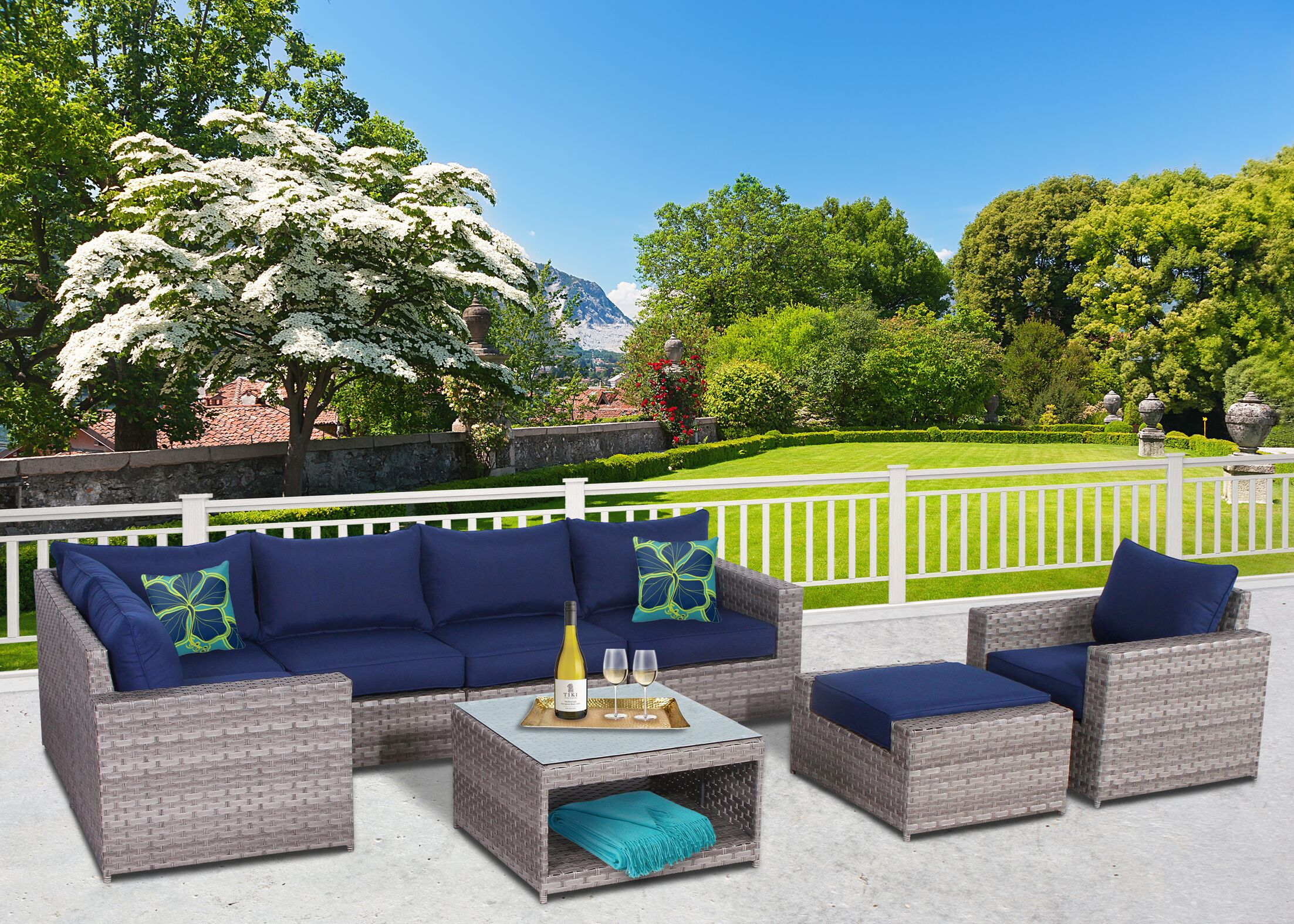 Burkley 8 Piece  Sectional Set with Cushions Cushion Color: Blue