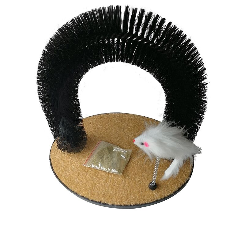 Self Grooming Cat Massage Arch Scratching Board with Mouse Toy