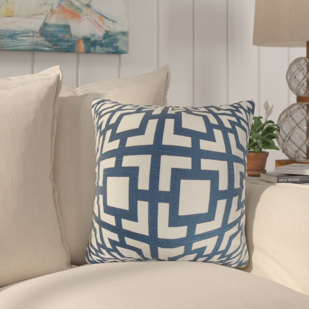 Packer Geometric Cotton Throw Pillow Color: Navy