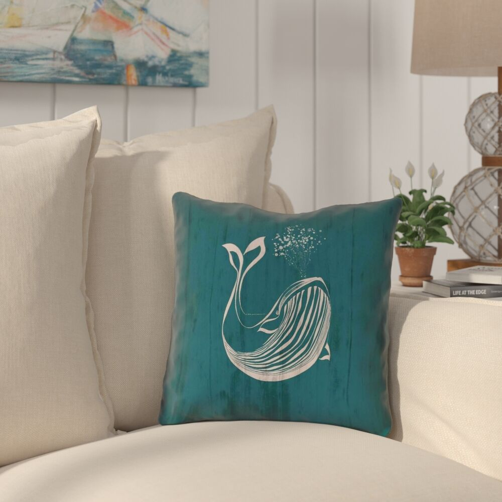 Lauryn Rustic Whale Outdoor Throw Pillow Size: 18