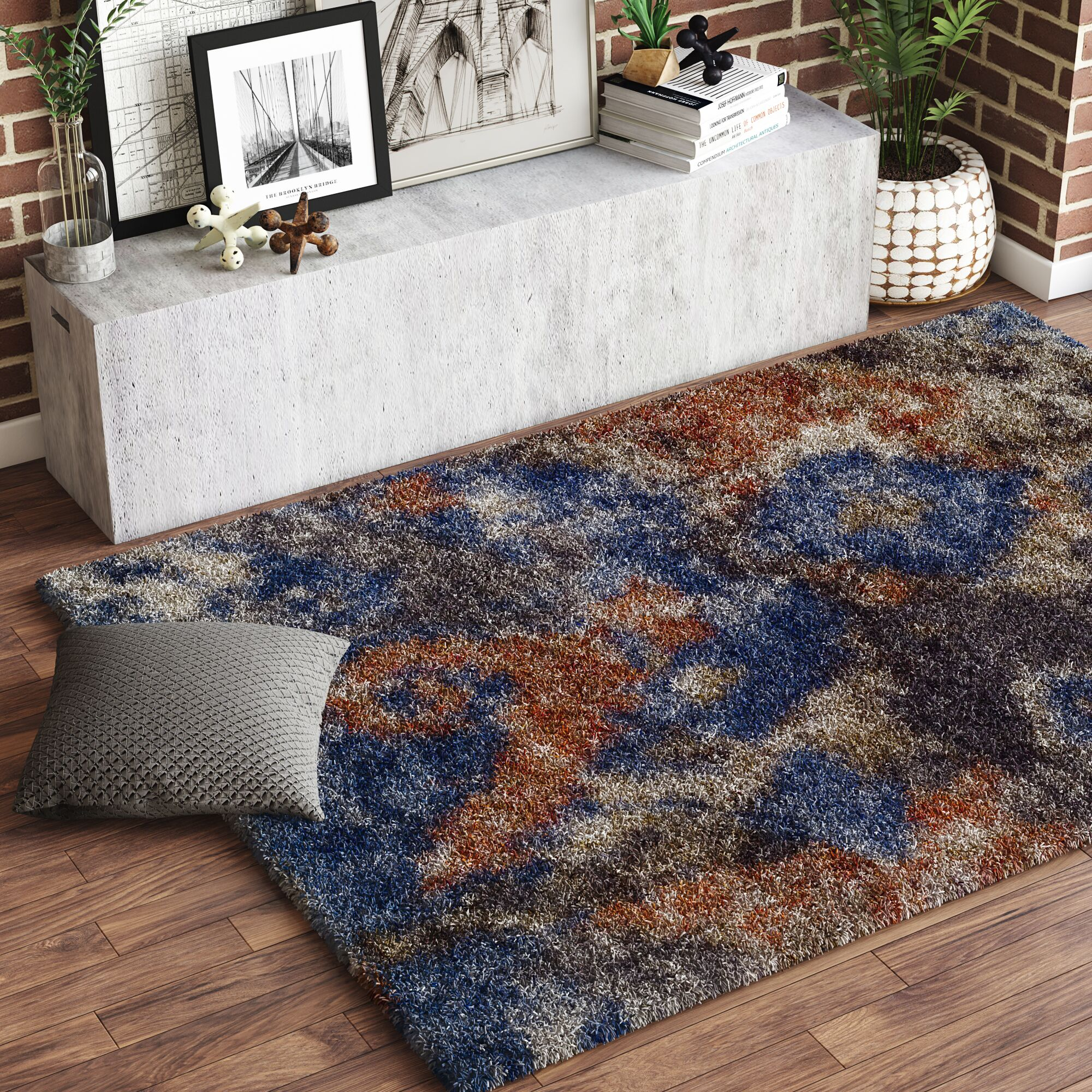 Zhora Blue/Brown Area Rug Rug Size: Rectangle 5'3