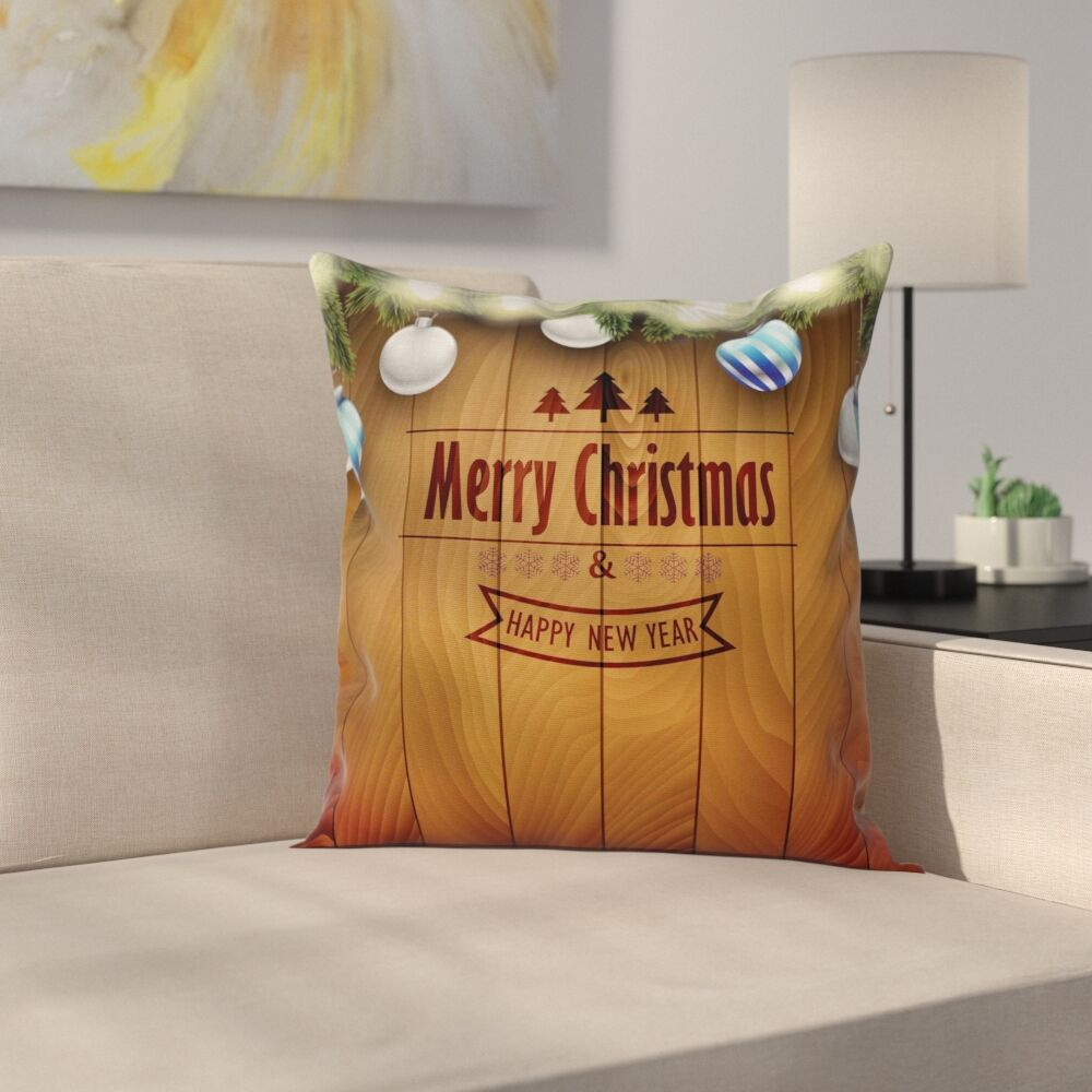 Christmas Fairy Lights on Wood Square Pillow Cover Size: 18