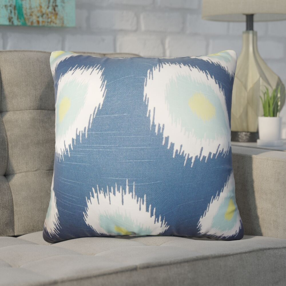 Lemos Ikat Cotton Throw Pillow Color: Blue
