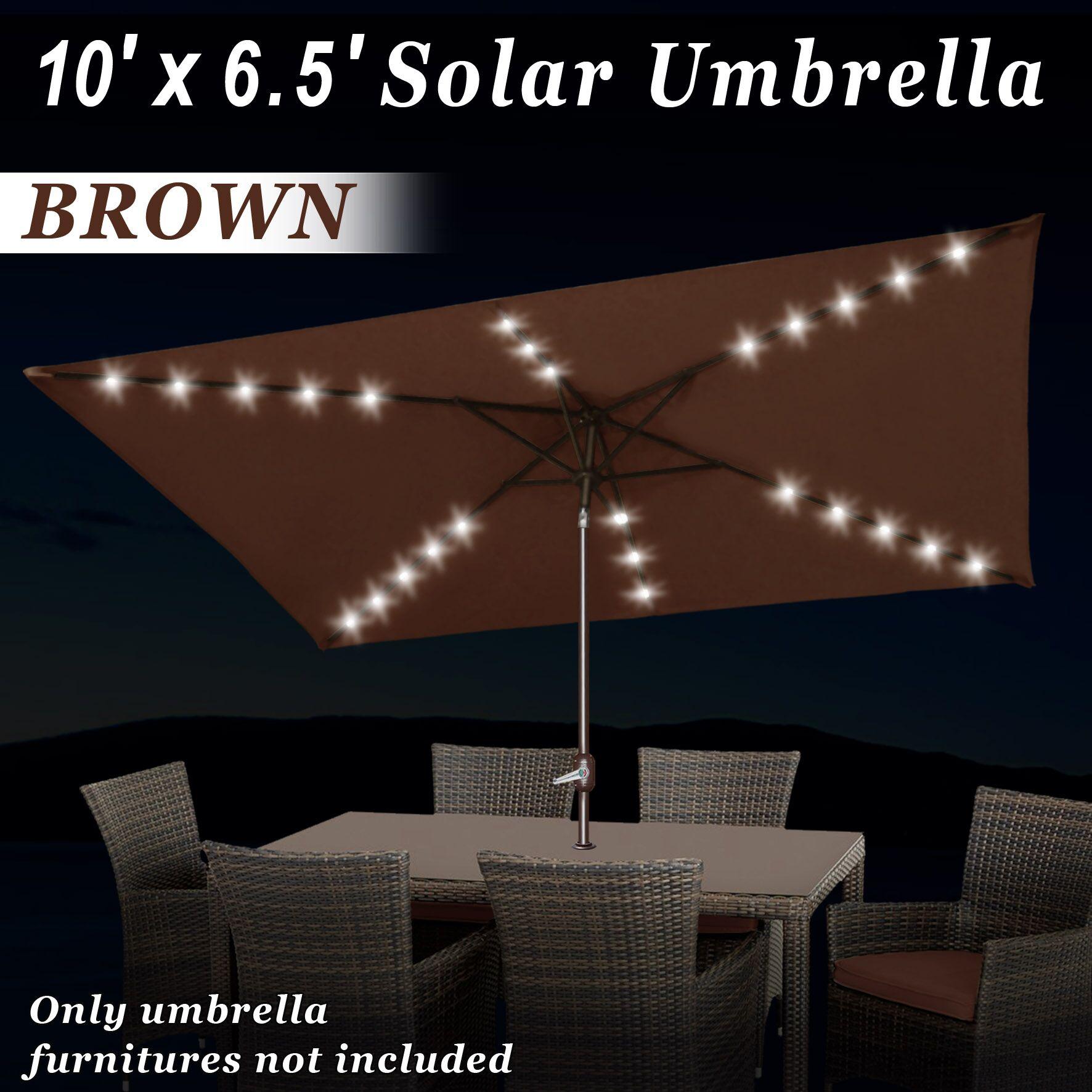 Eliana Solar Lighted Sunshade Tilt Crank 10' x 6'6