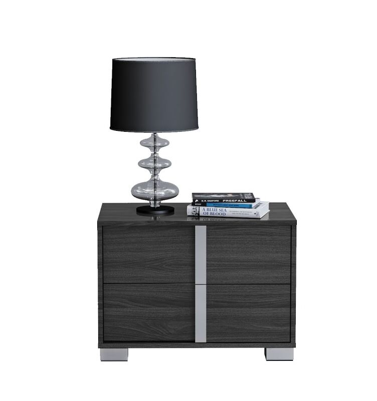 Gower 2 Drawer Nightstand Color: Midnight Gray, Door Configuration: Left