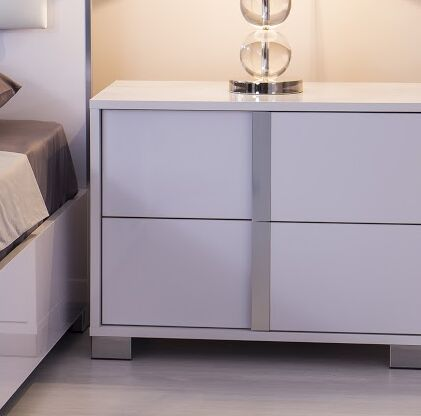 Granberry 2 Drawers Nightstand Color: Glistening White, Door Configuration: Left