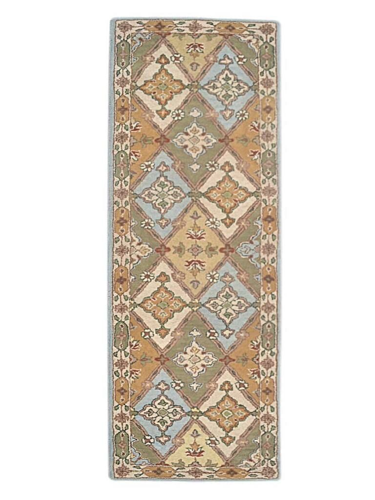 Adcox Vintage Hand-Woven Wool Blue/Green Area Rug Rug Size: Runner 2'6