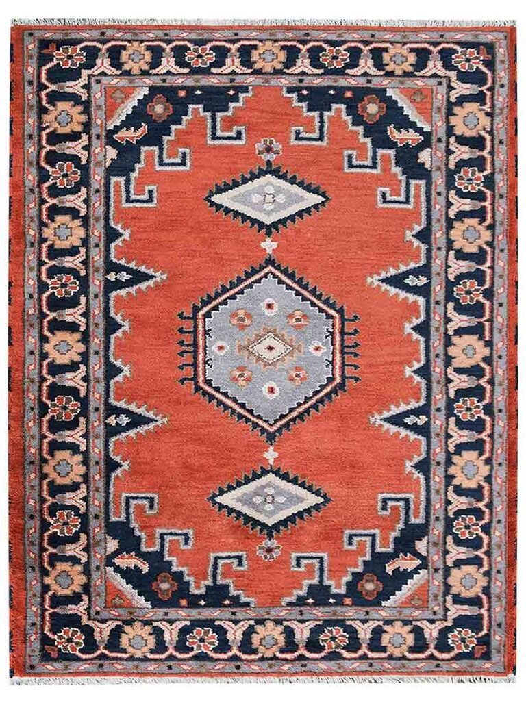 Pointer Afghan Hand-Woven Pink/Blue Area Rug Rug Size: Rectangle 6' x 9'