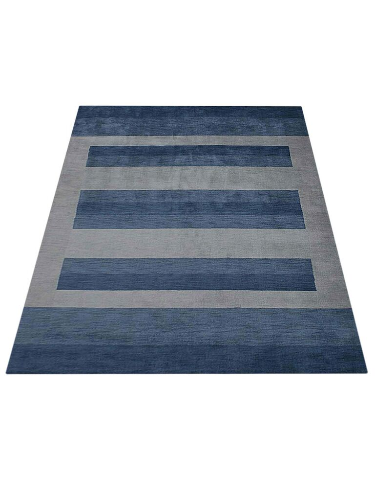 Ry Hand-Knotted Wool Blue Area Rug Rug Size: Rectangle 8' x 10'