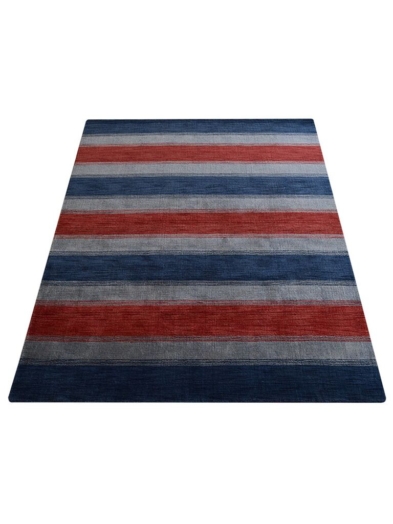 Ry Hand-Knotted Wool Red/Blue Area Rug Rug Size: Rectangle 6' x 9'