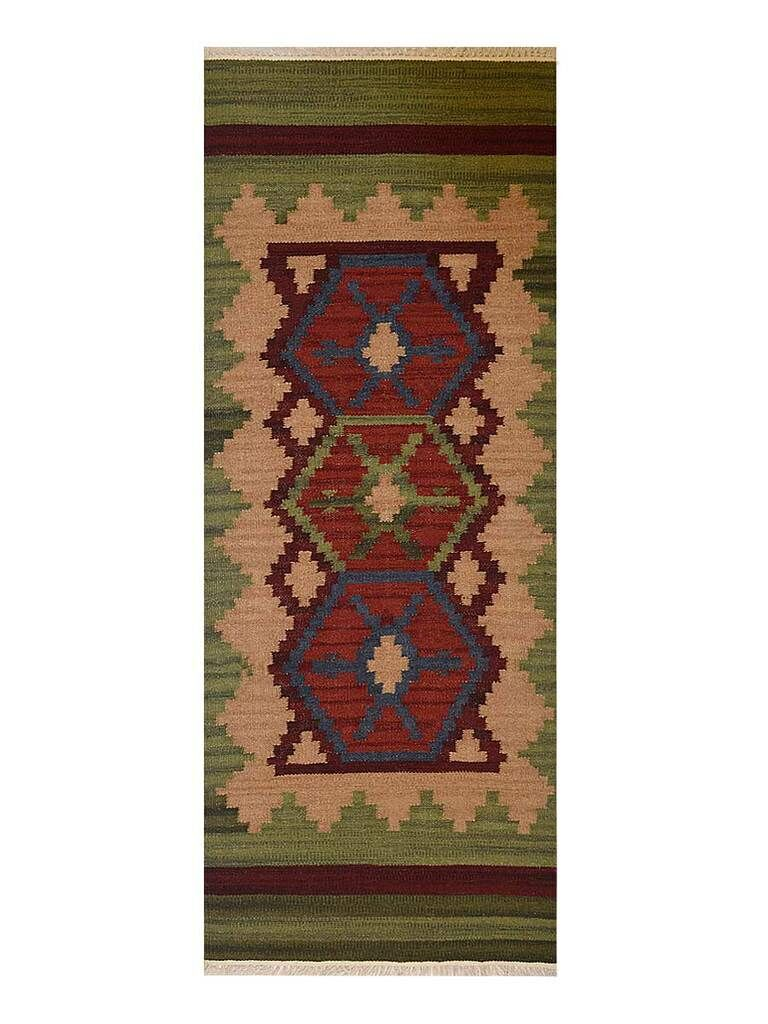 St Catherine Hand-Woven Wool Brown/Green Area Rug Rug Size: Runner 3' x 13'