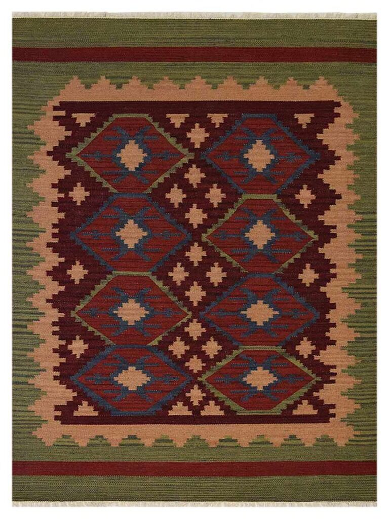 Clairville Hand-Woven Wool Burgundy/Olive Area Rug Rug Size: Rectangle 8' x 10'