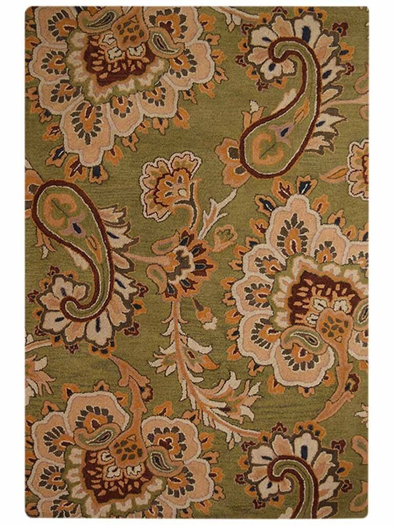 Mcknight Floral Hand-Tufted Wool Green/Brown/Orange Area Rug Rug Size: Rectangle 5' x 8'