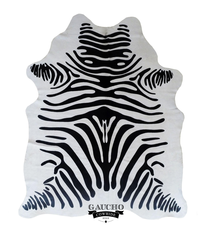 One-of-a-Kind Jorden Stenciled Zebra Black/White Cowhide Area Rug