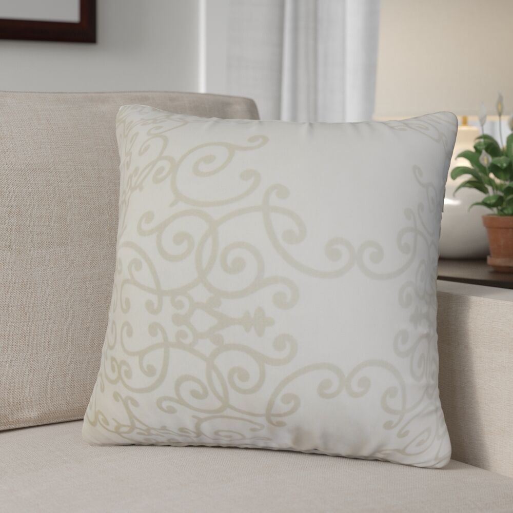 Khiry Floral Cotton Throw Pillow Color: Birch, Size: 22