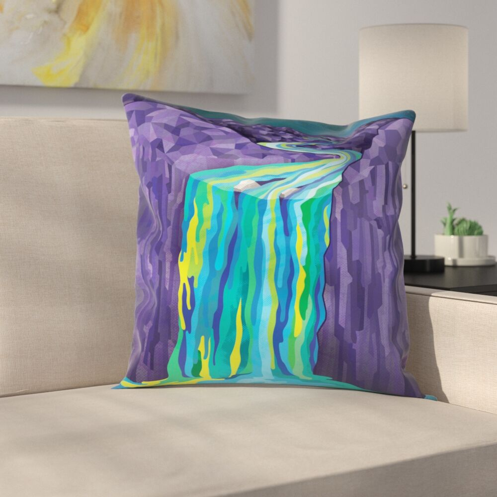 Joe Van Wetering The Great Waterfall Throw Pillow Size: 18