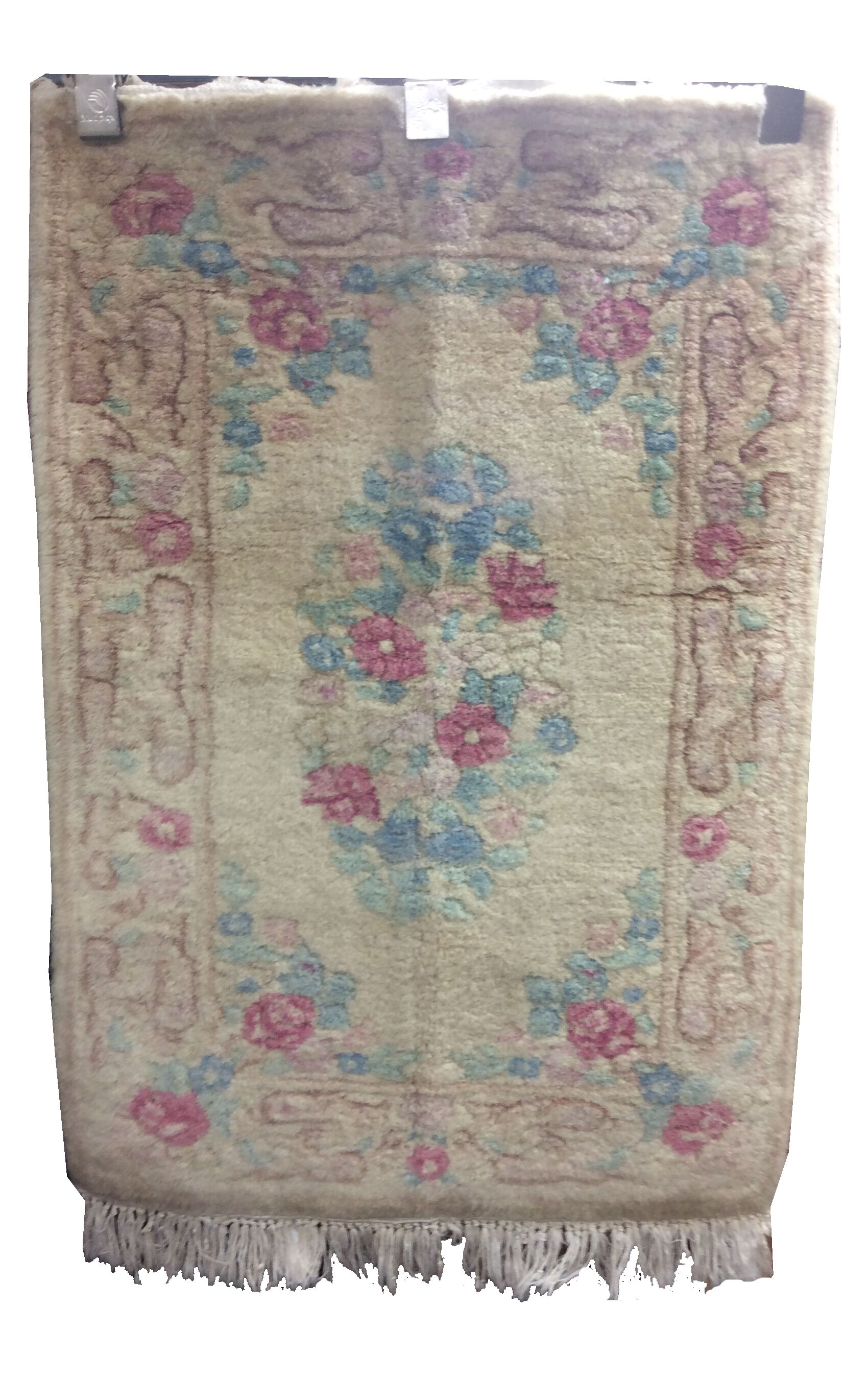 One-of-a-Kind Drumroan Hand-Knotted Wool Beige/Rose Area Rug