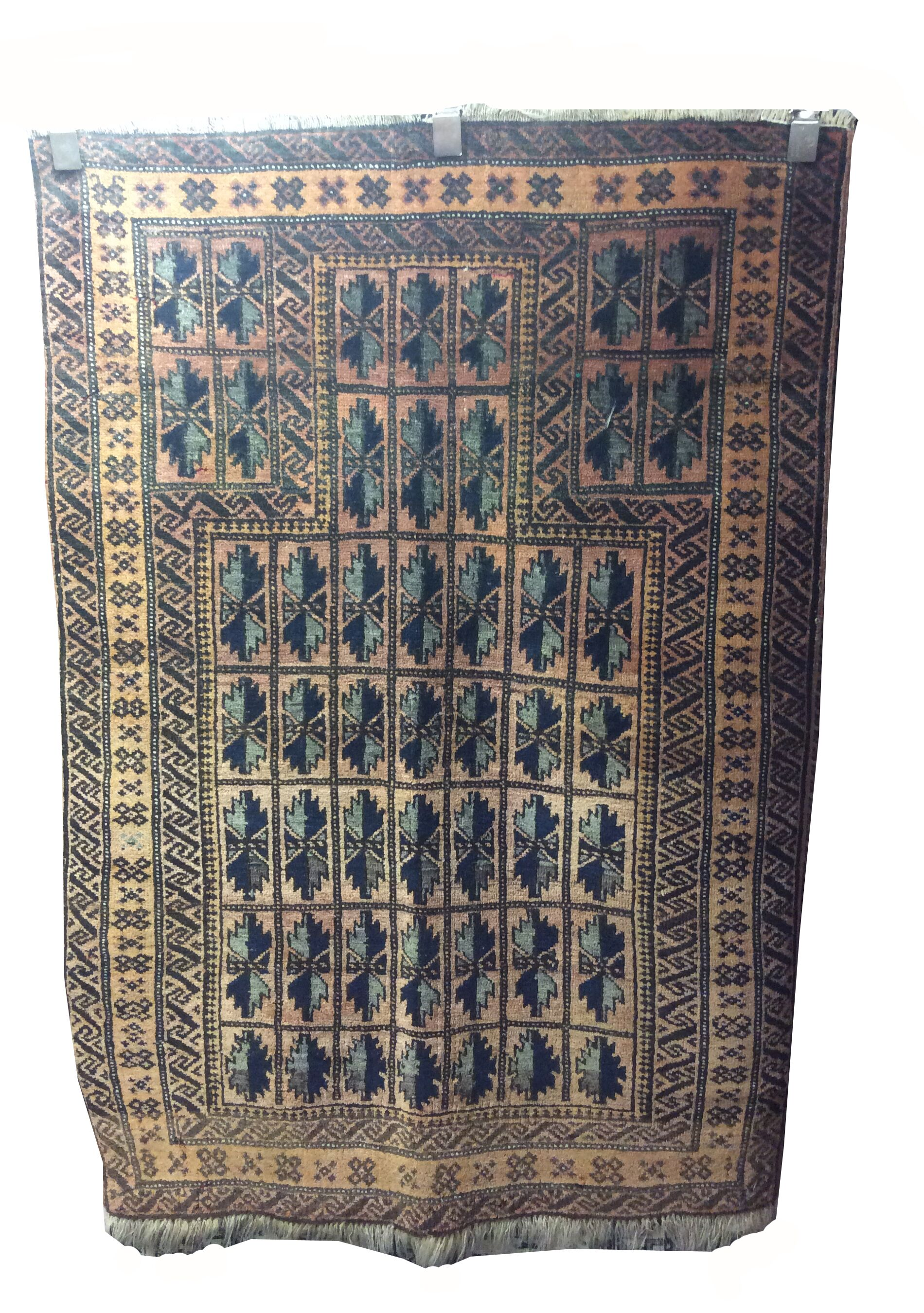 One-of-a-Kind Wiedemann Afghan Tribal Hand-Knotted Wool Brown/Blue Rug