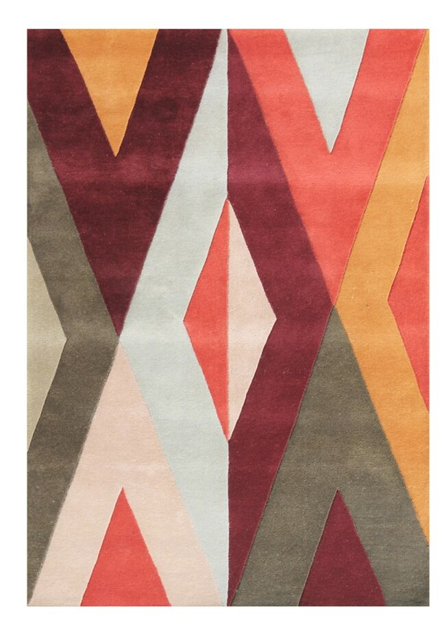 Gladsaxe Hand-Tufted Wool Orange/Red/Yellow Area Rug
