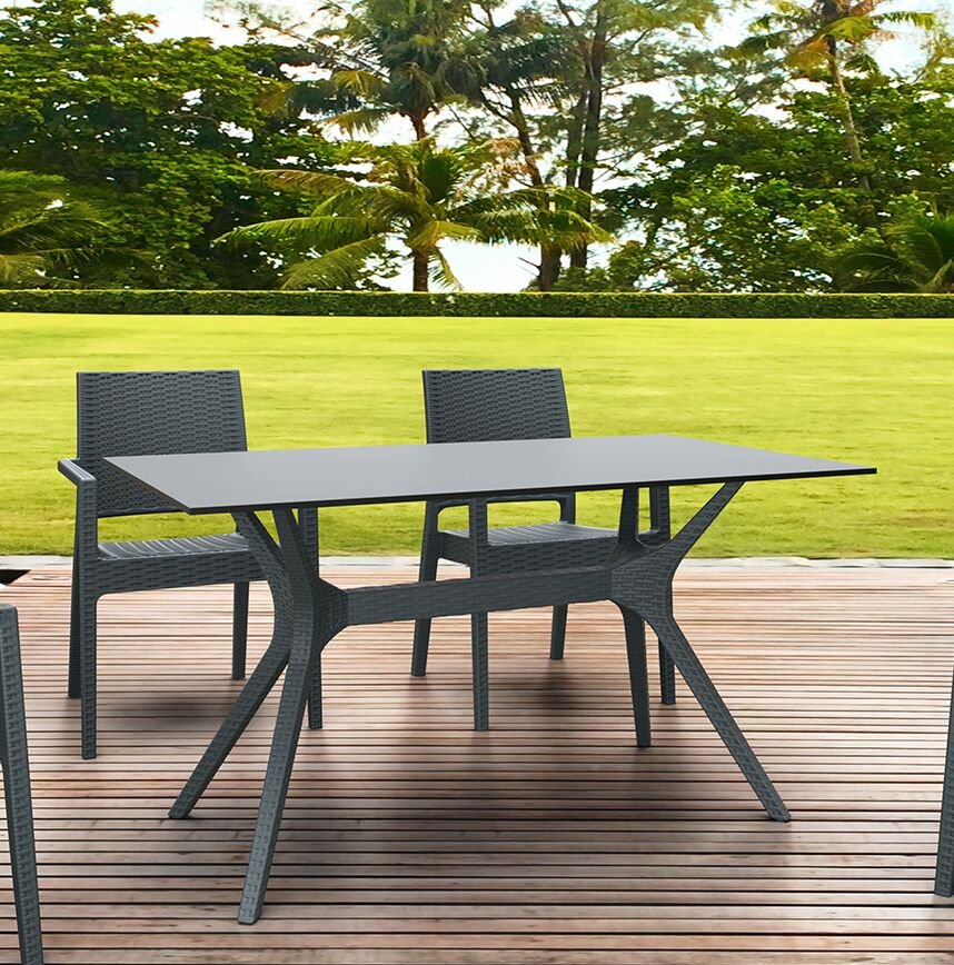 Fray Rectangle Dining Table Color: Dark Gray, Size: 29.5