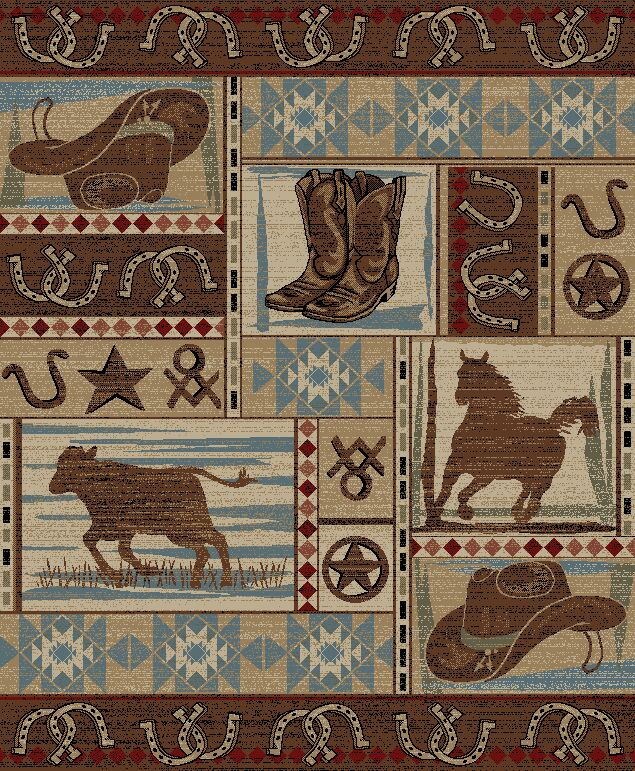Pershing Rodeo Cowboy Roper Western Brown/Beige Area Rug Rug Size: Rectangle 5'3