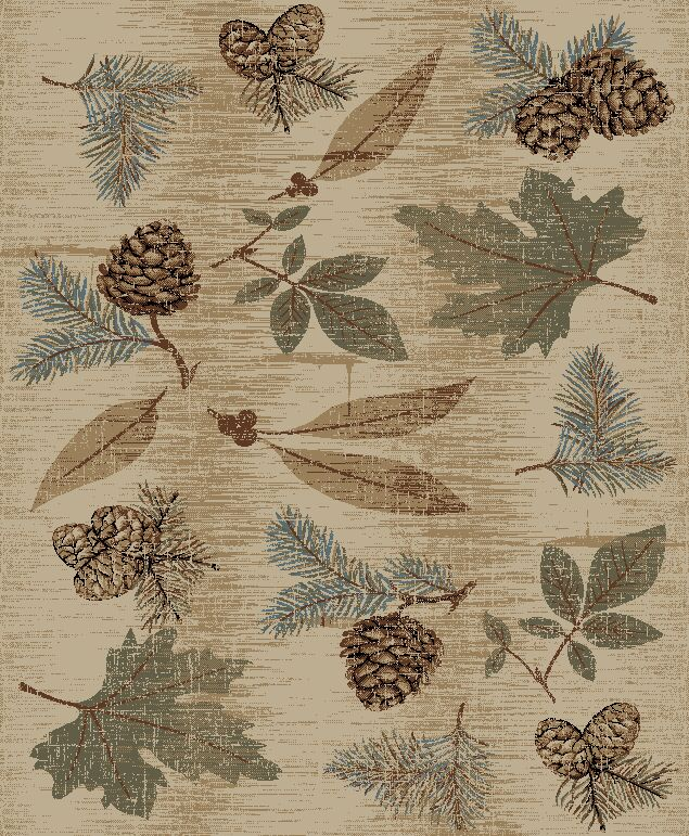 Perz Fall Leaves Pine Cone Rustic Beige/Blue Area Rug Rug Size: Rectangle 7'10