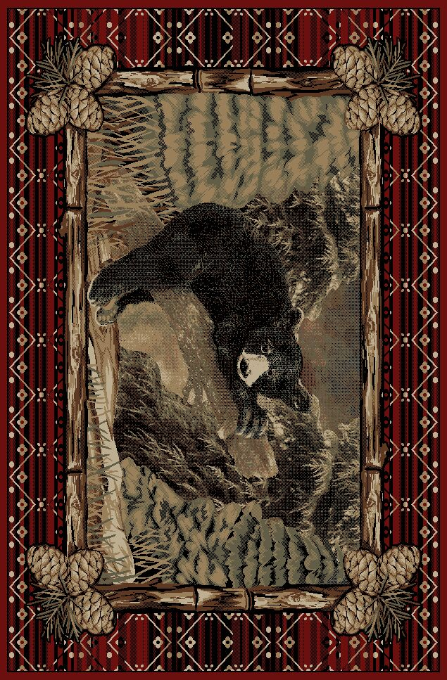 Pesce Rustic Lodge Pine Bear Cub Log Beige/Red Area Rug Rug Size: Rectangle 7'10