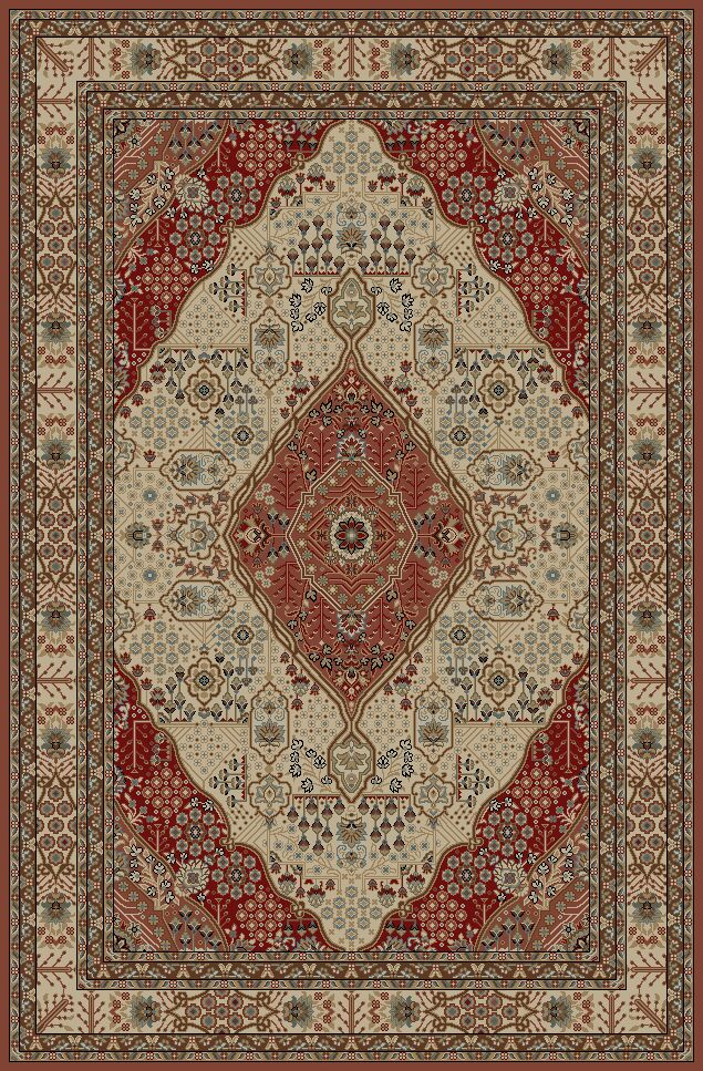 Cmille Red/Cream Area Rug Rug Size: Rectangle 8' x 9'2