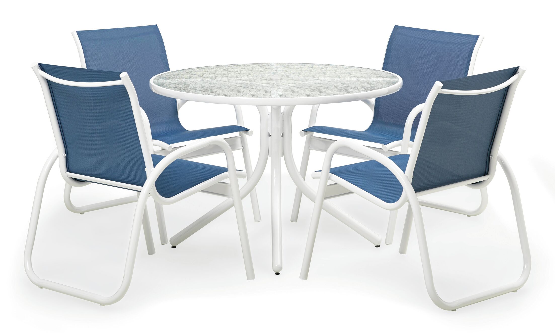 Maust 5 Piece Dining Set with Cushions Color: Gloss White/Cobalt