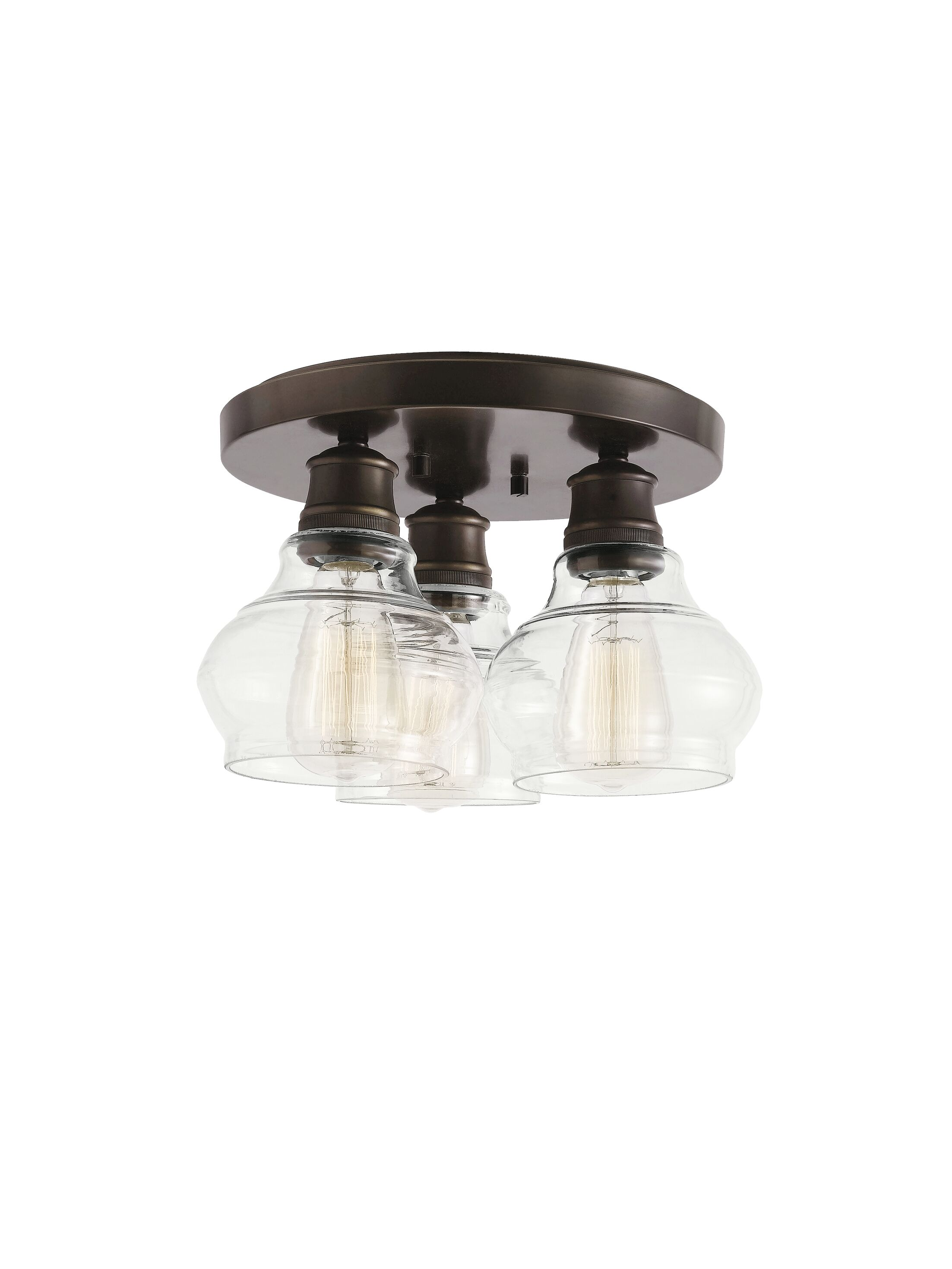 Dahms 3-Light Flush Mount Fixture Color: Oil Rubbed Bronze