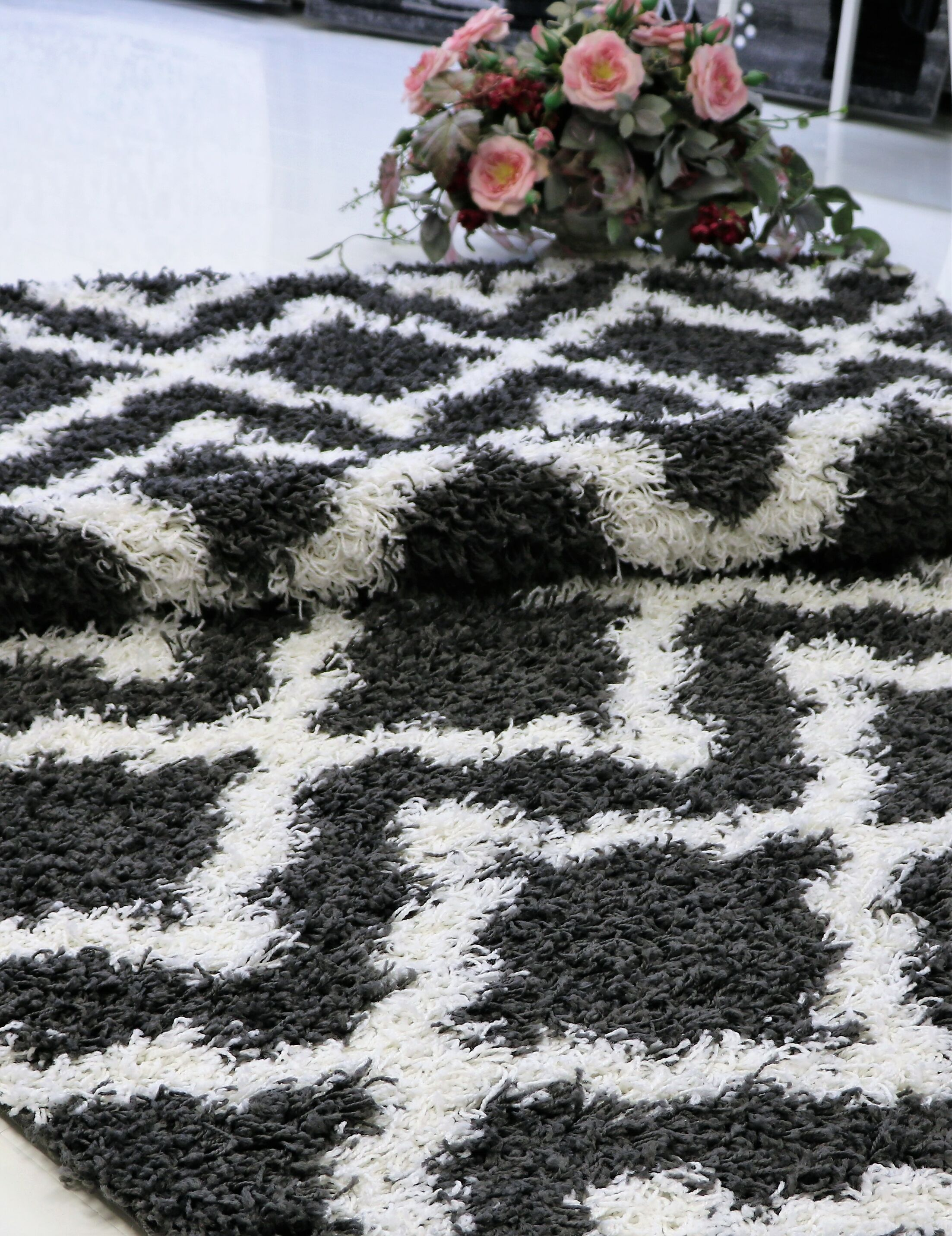 Konopka Modern Shaggy Dark Gray/White Area Rug Rug Size: Rectangle 5'2