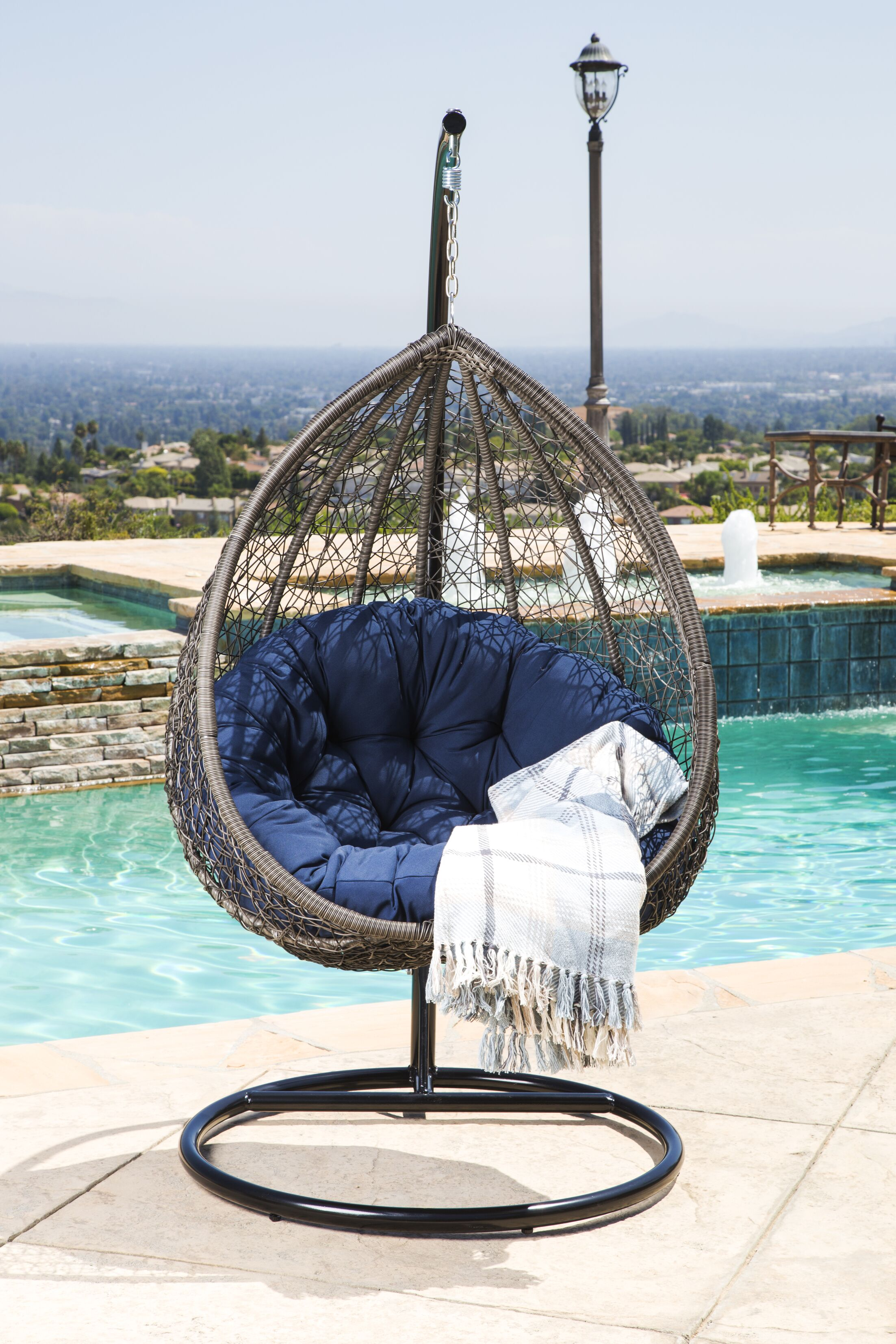 Ostrowski Outdoor Wicker Swing Chair with Stand Color: Navy