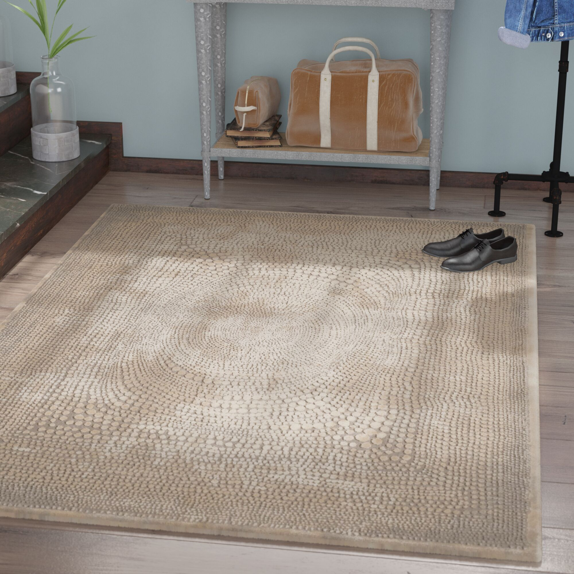 Wendi Ivory/Gray Area Rug Rug Size: Rectangle 9' x 12'