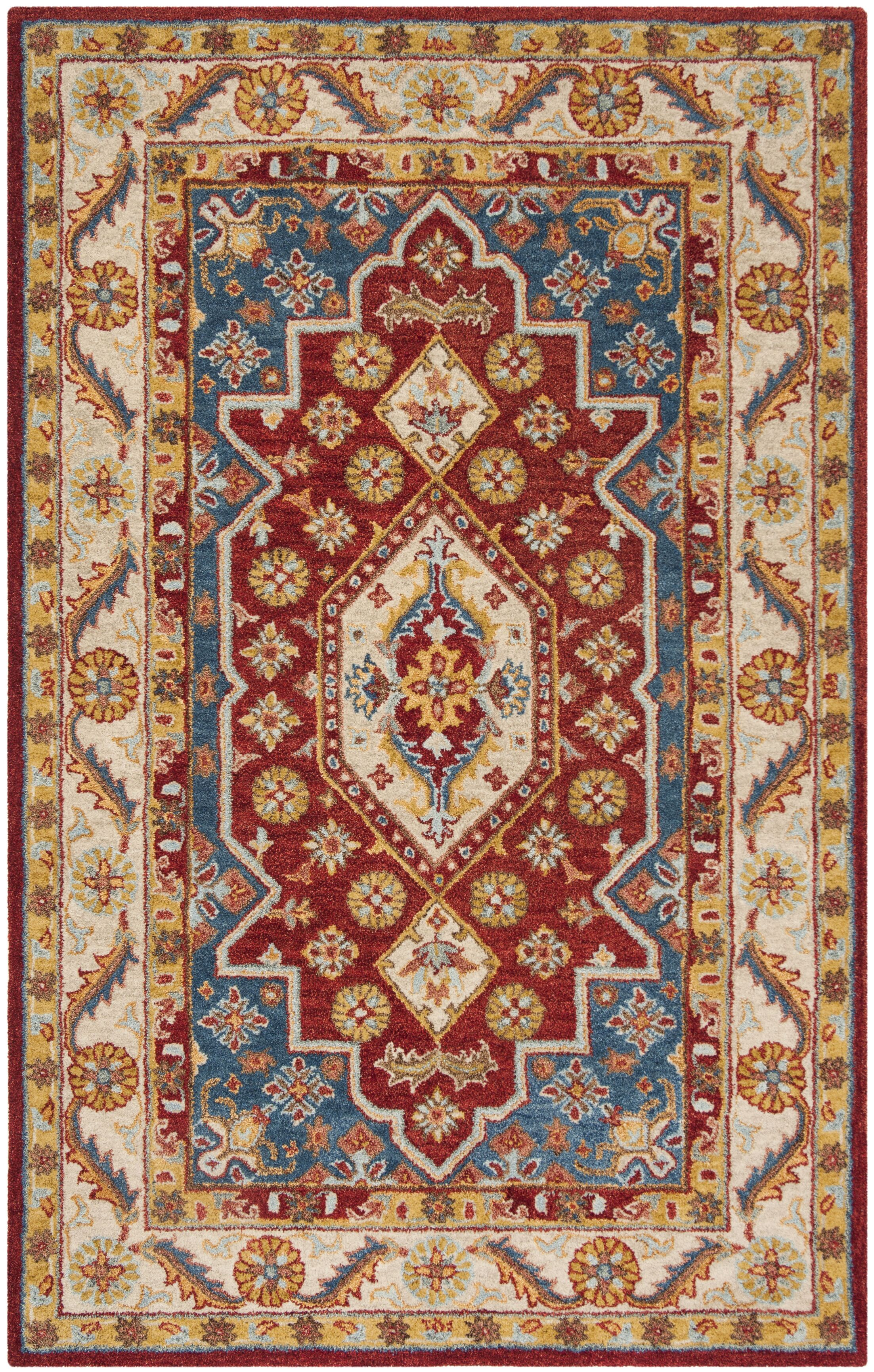 Clymer Antiquity Hand-Tufted Red/Beige Area Rug Rug Size: Rectangle 5' x 8'