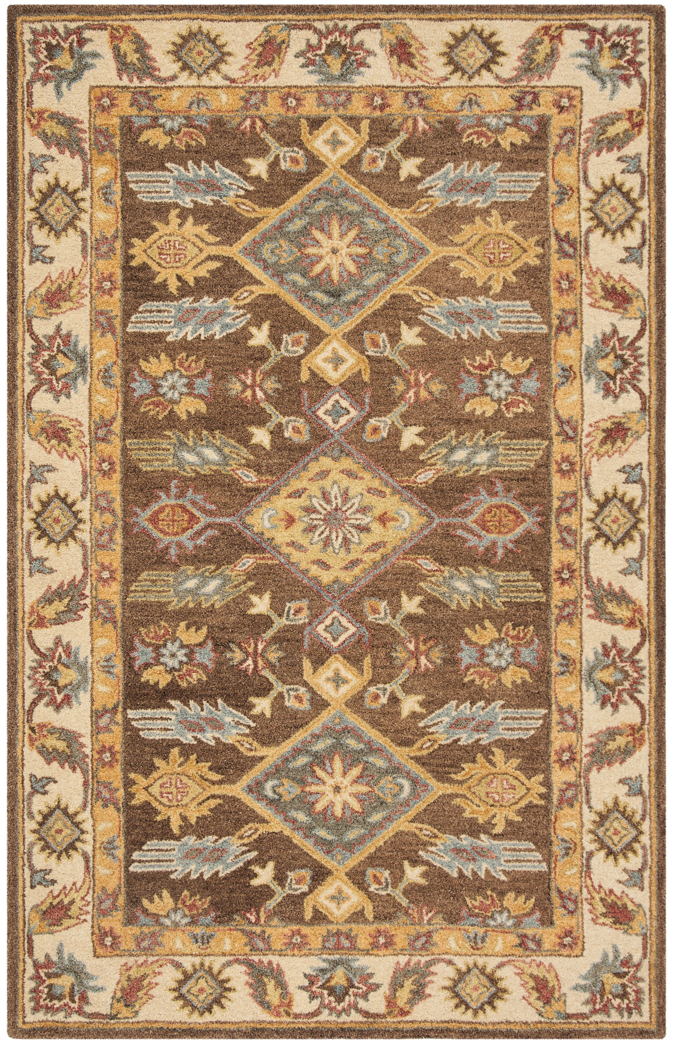 Clymer Antiquity Hand-Tufted Wool/Cotton Brown/Ivory Area Rug Rug Size: Rectangle 3' x 5'
