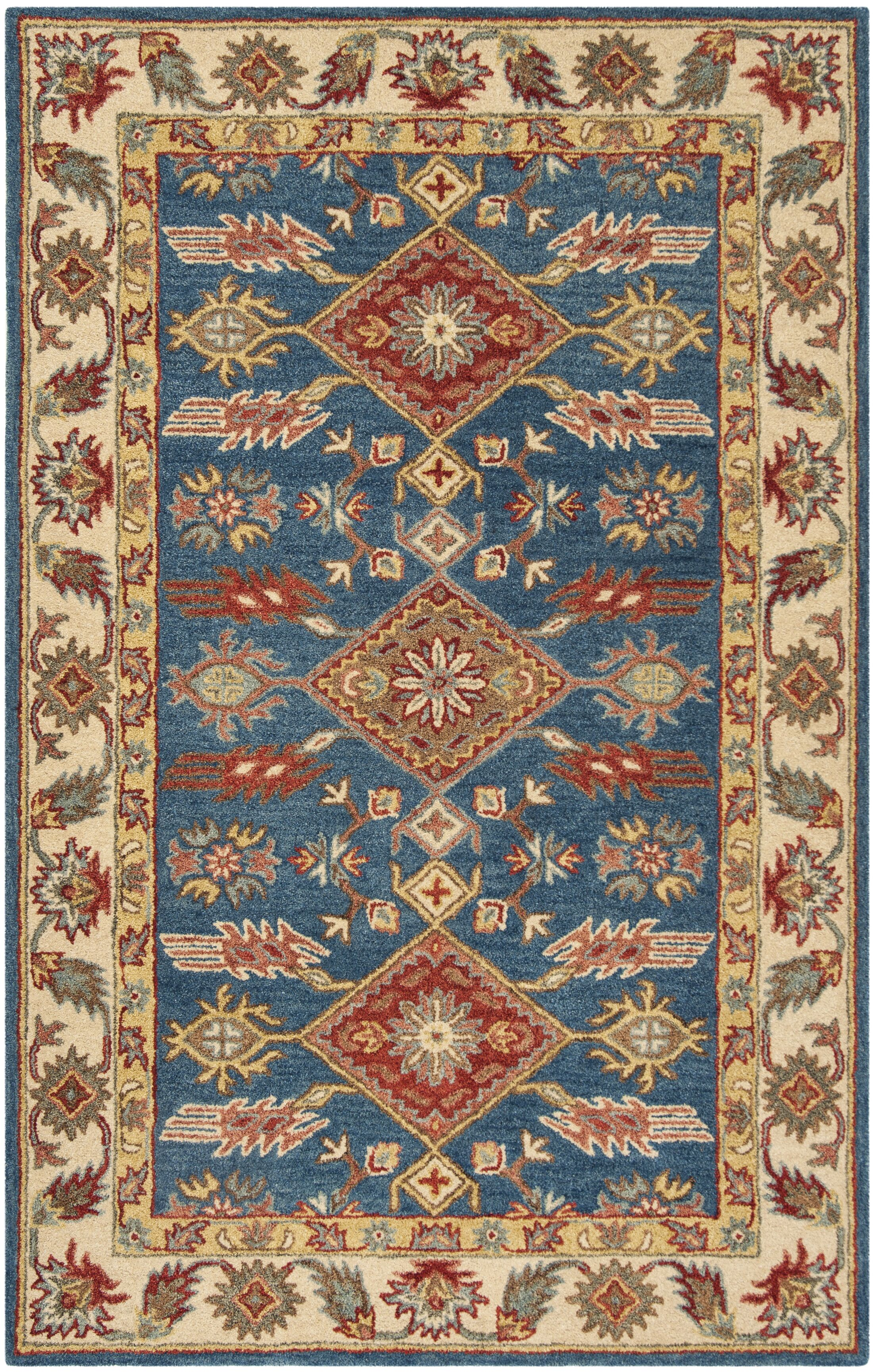 Clymer Antiquity Hand-Tufted Blue/Beige Area Rug Rug Size: Rectangle 6' x 9'