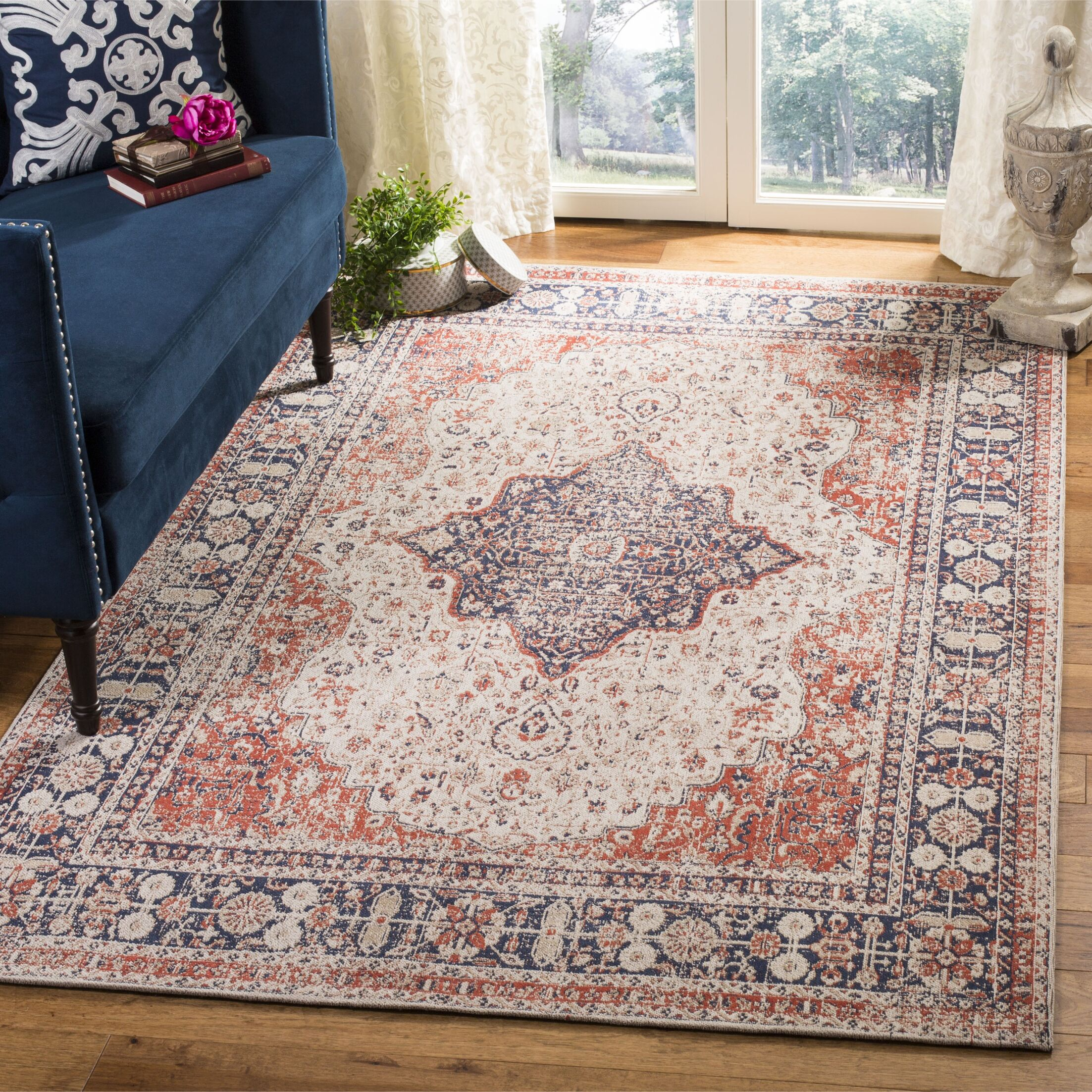 Foxborough Classic Vintage Apricot/Ivory Area Rug Rug Size: Rectangle 2'3