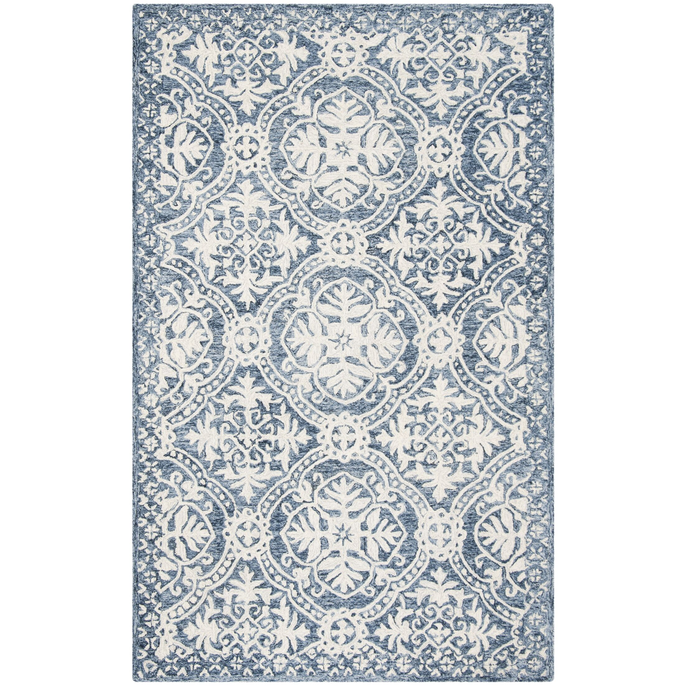 Salerna Hand-Tufted Wool/Cotton Blue/Ivory Area Rug Rug Size: Rectangle 5' x 8'