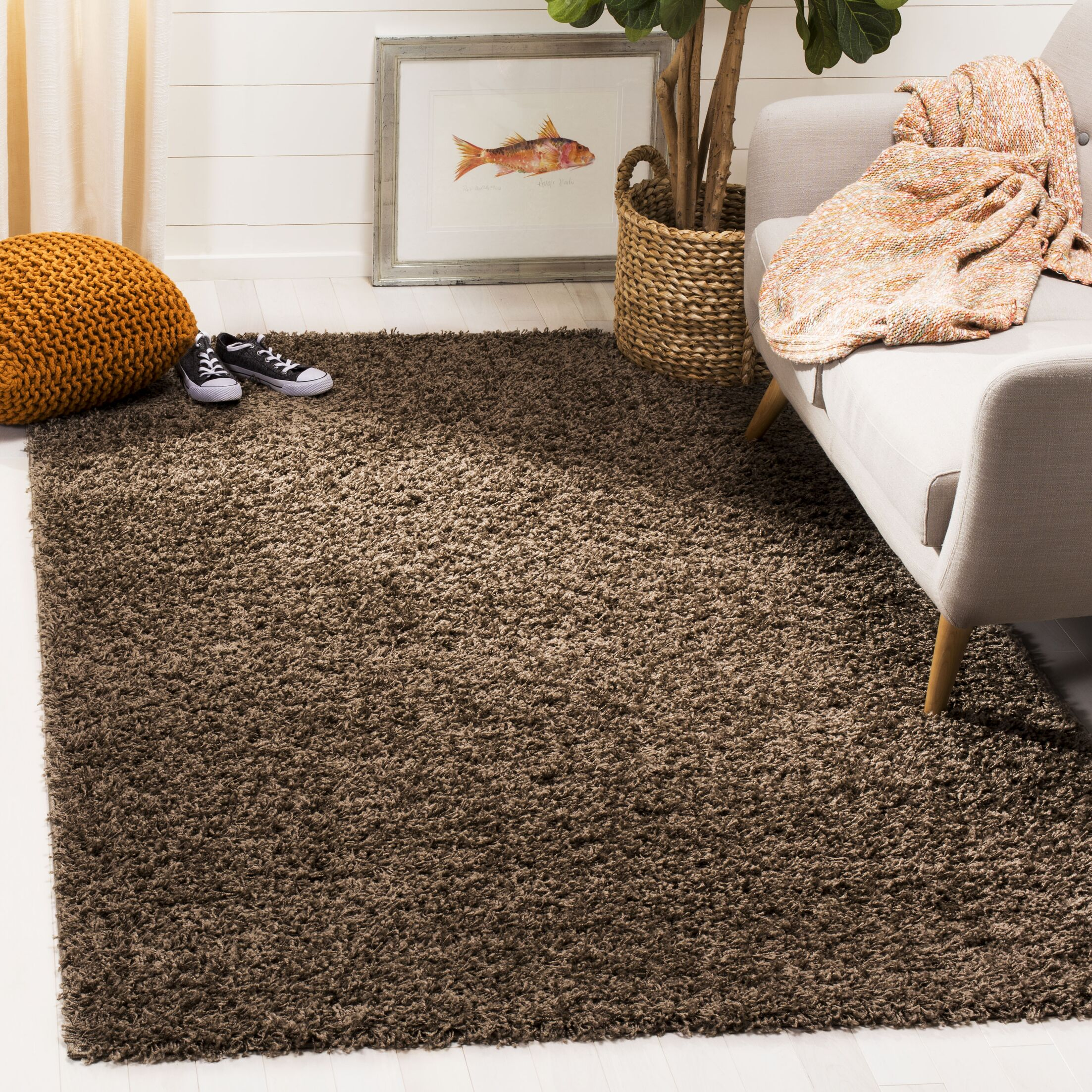 Fornax Shag Brown Area Rug Rug Size: Square 6'7