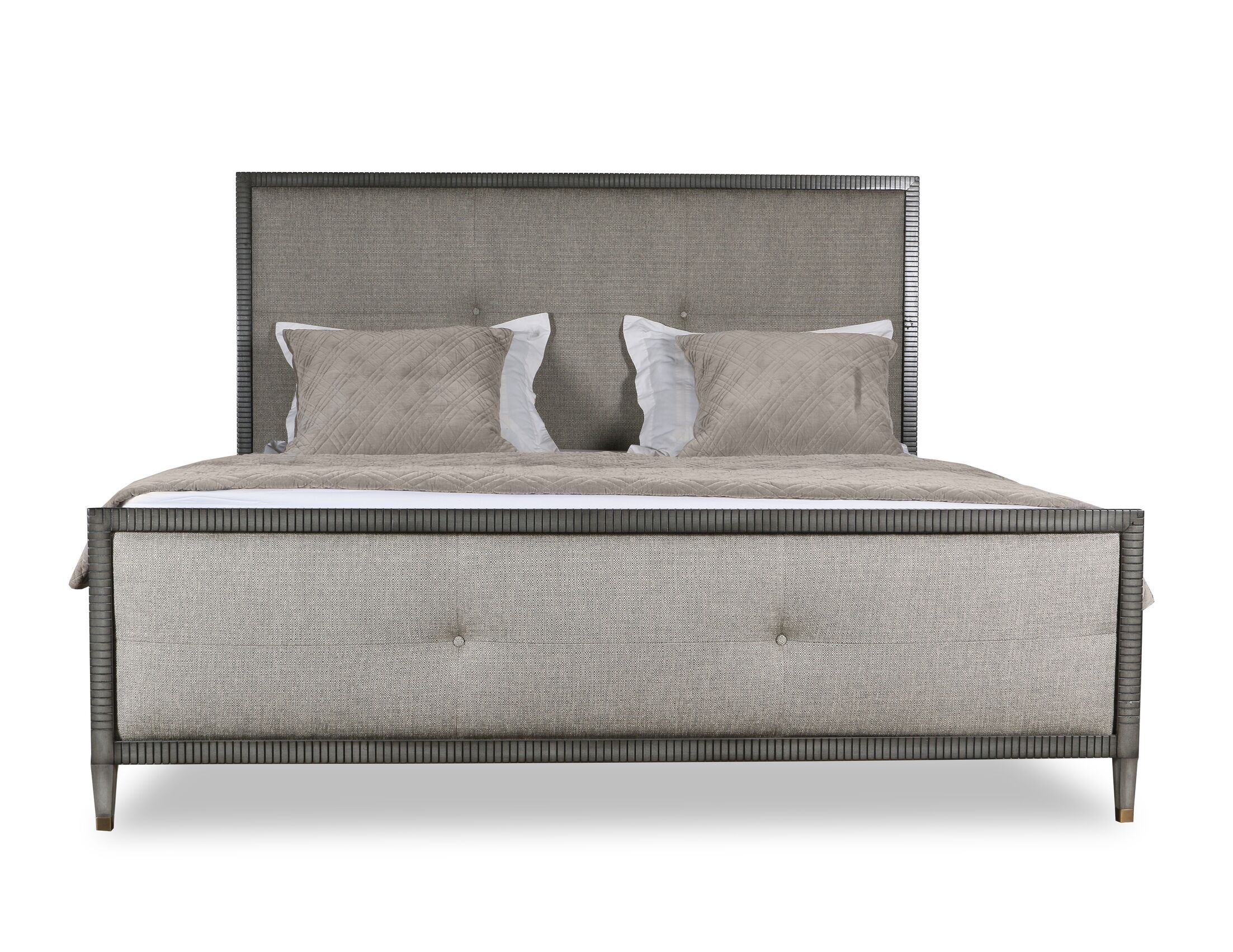 Korhonen Simple Tufted Upholstered Panel Bed Size: California King, Color: Gray