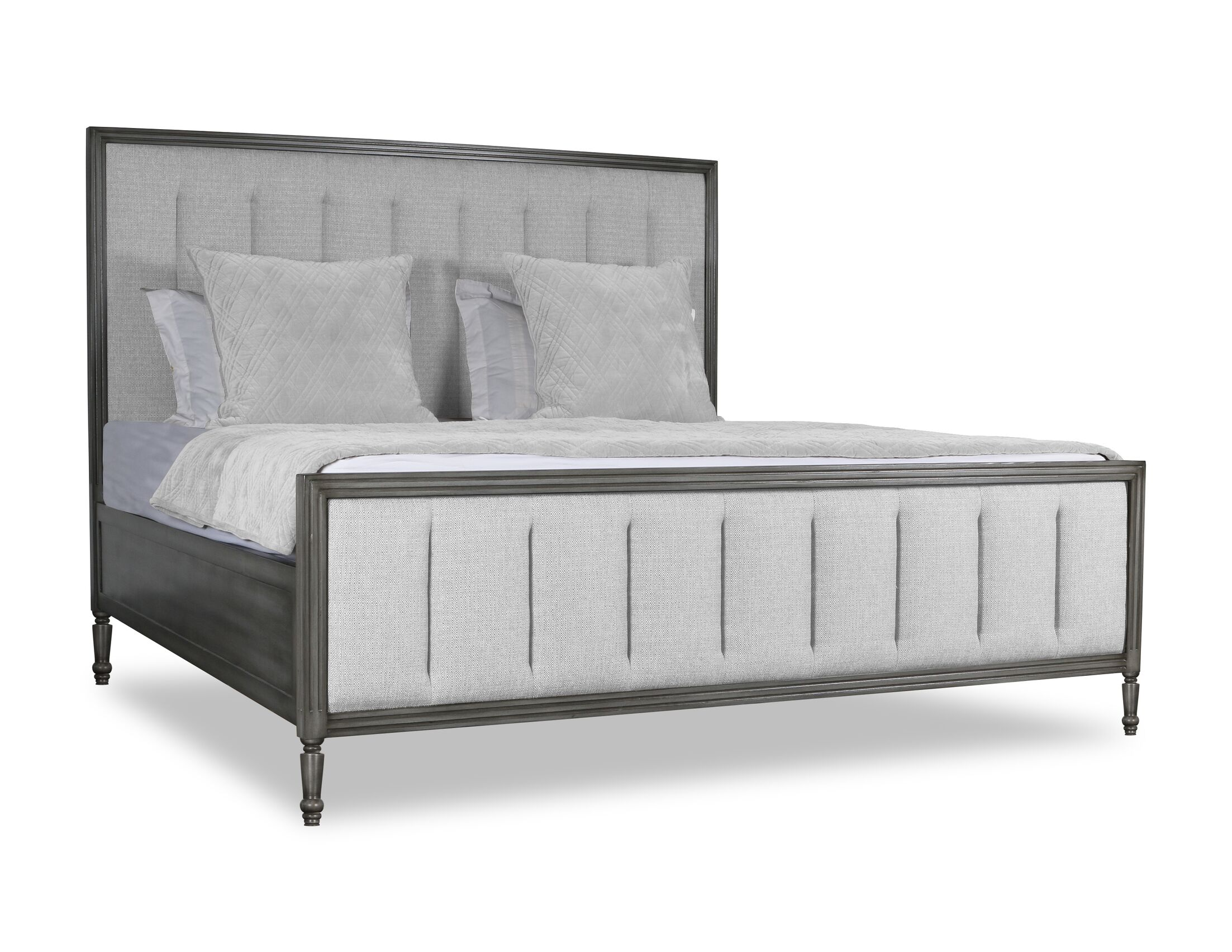 Faisan Vertical Channel Tufting Upholstered Panel Bed Size: King, Color: White
